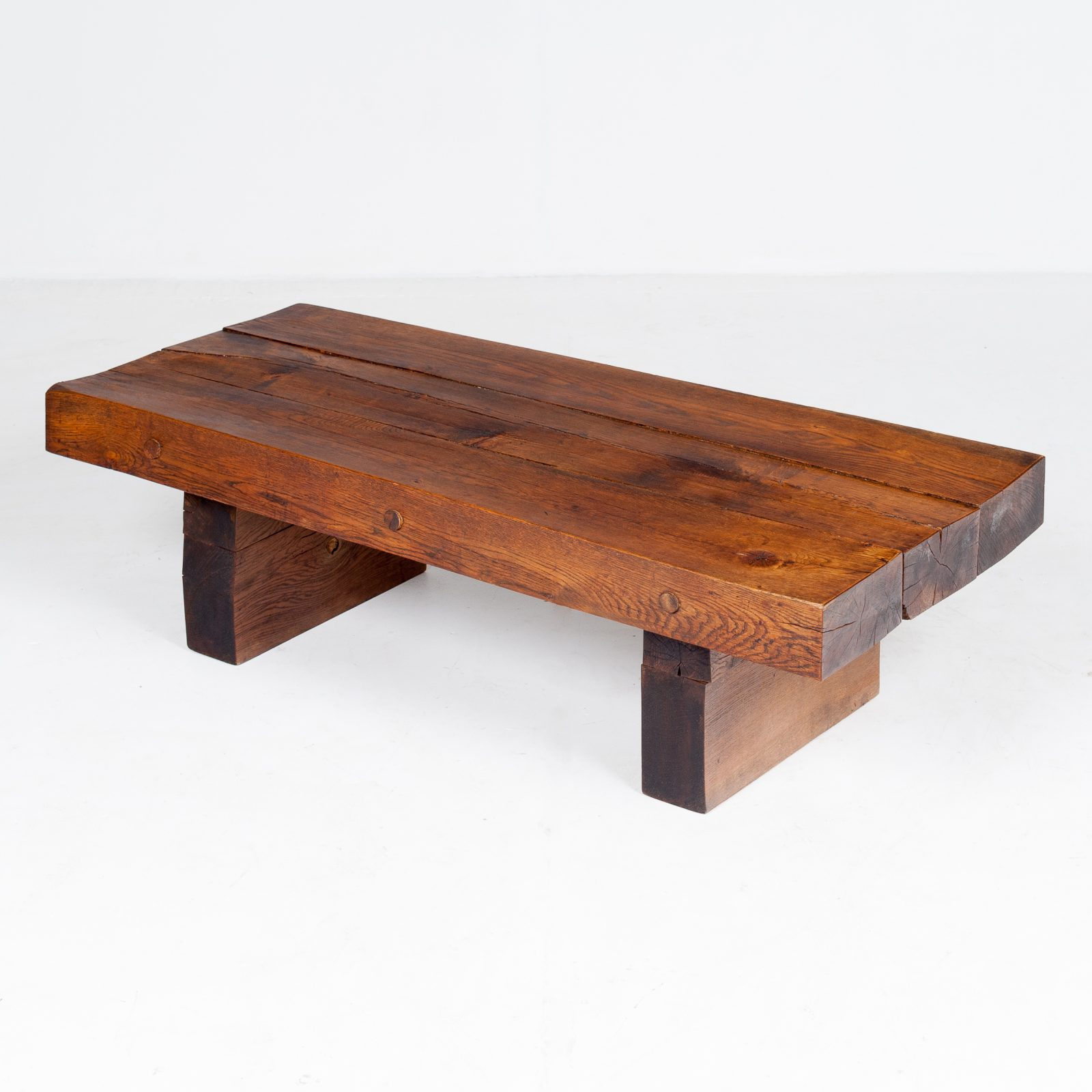 Brutalist Style Coffee Table In Timber, 1960s, The Netherlands 799