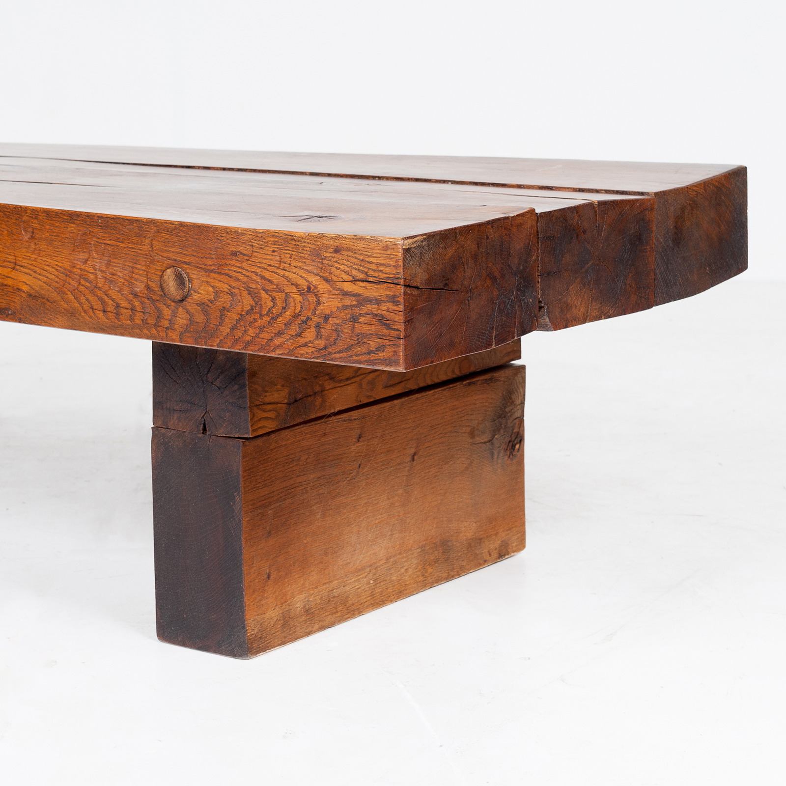 Brutalist Style Coffee Table In Timber, 1960s, The Netherlands 800