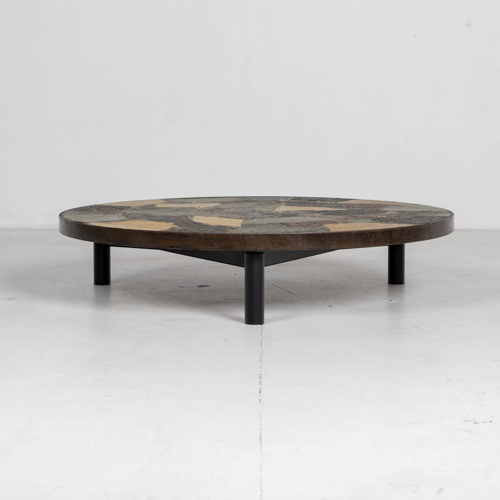 Circular Coffee Table In The Style Of Paul Kingma With Mosaic Slate Top And Metal Edge, 1970s, The Netherlands 00001