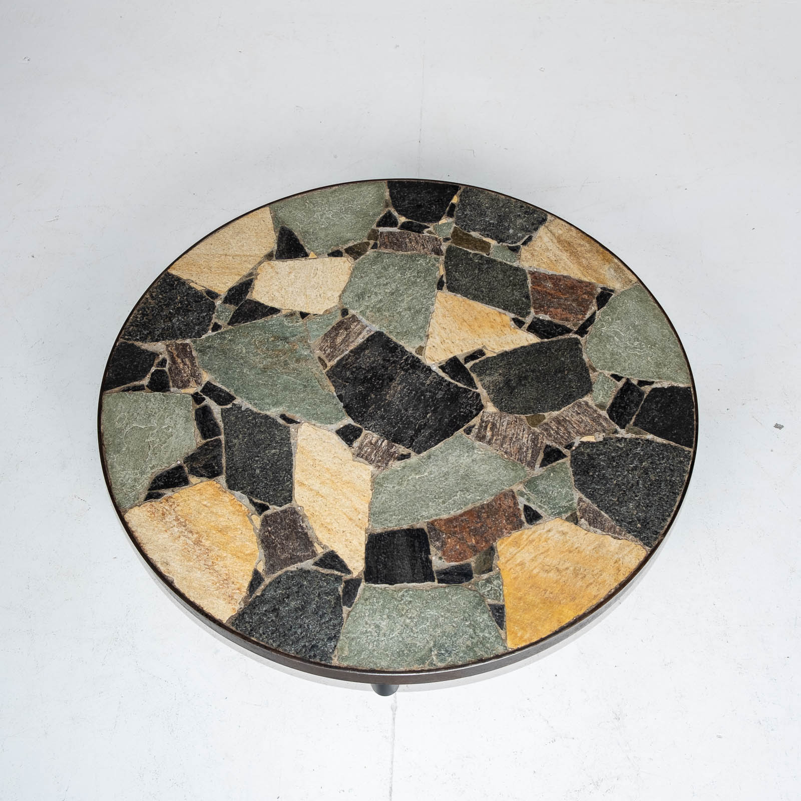 Circular Coffee Table In The Style Of Paul Kingma With Mosaic Slate Top And Metal Edge, 1970s, The Netherlands 00003