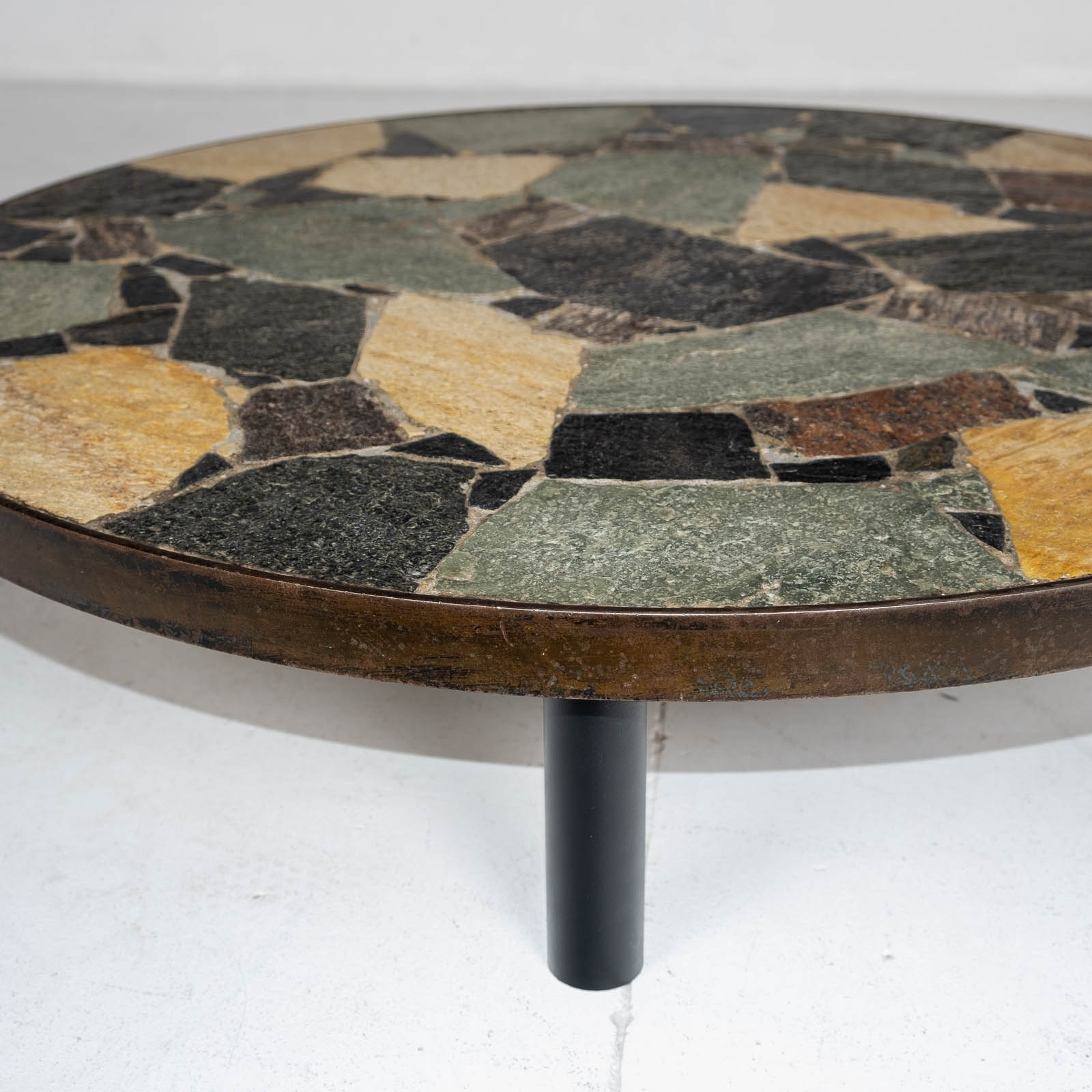 Circular Coffee Table In The Style Of Paul Kingma With Mosaic Slate Top And Metal Edge, 1970s, The Netherlands 00004