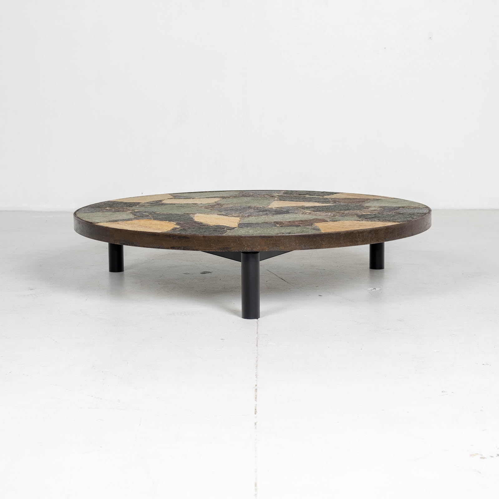 Circular Coffee Table In The Style Of Paul Kingma With Mosaic Slate Top And Metal Edge, 1970s, The Netherlands 00007