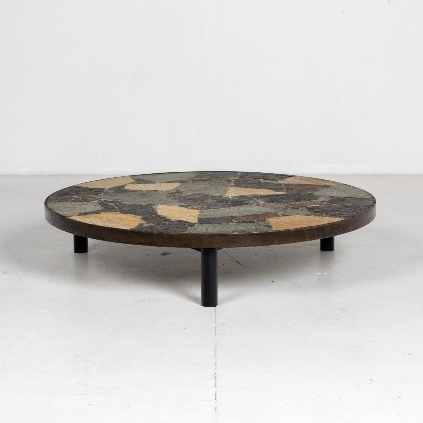 Circular Coffee Table In The Style Of Paul Kingma With Mosaic Slate Top And Metal Edge, 1970s, The Netherlands Hero