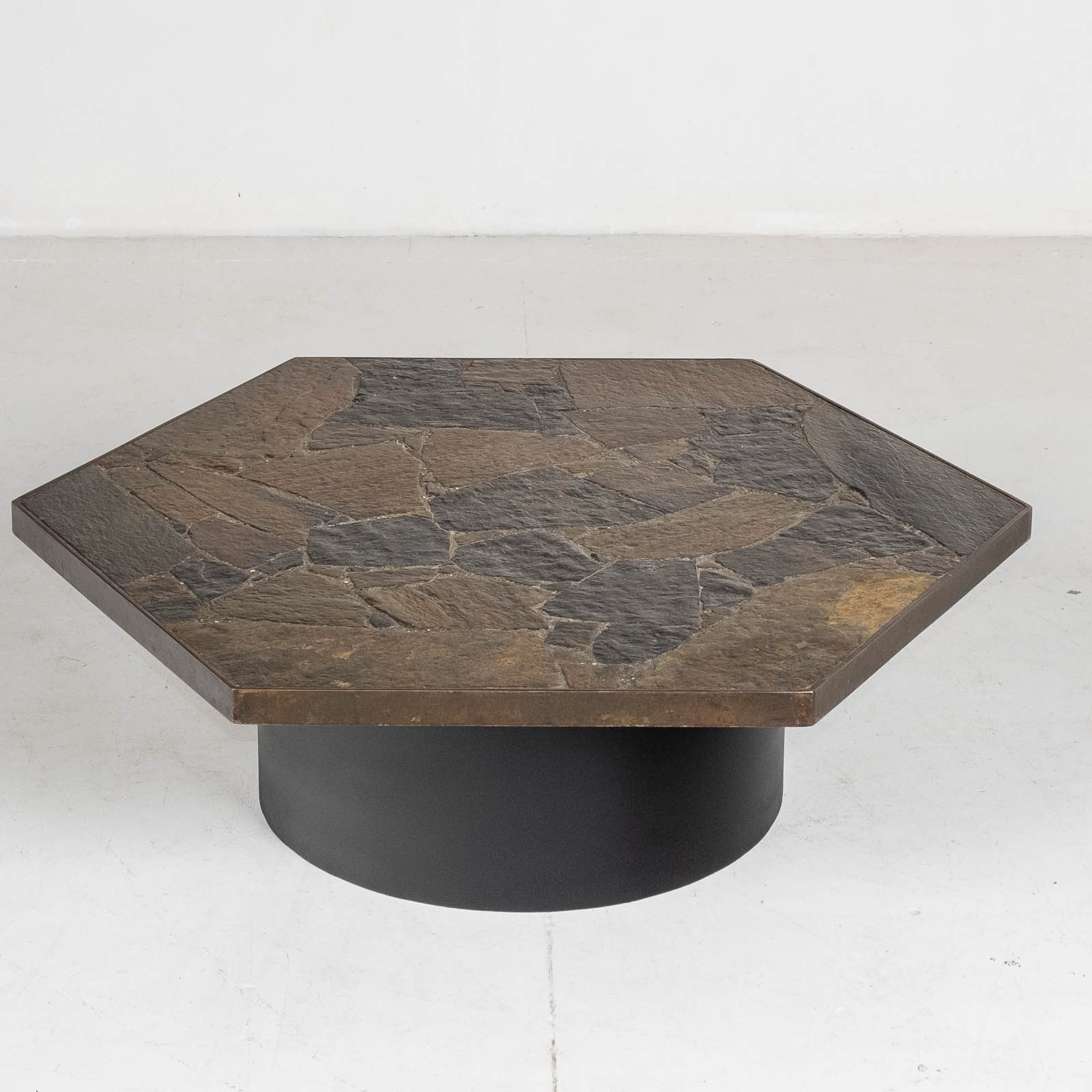 Hexagonal Coffee Table In The Style Of Paul Kingma With Stone Top And Metal Edge, 1970s, The Netherlands 00002