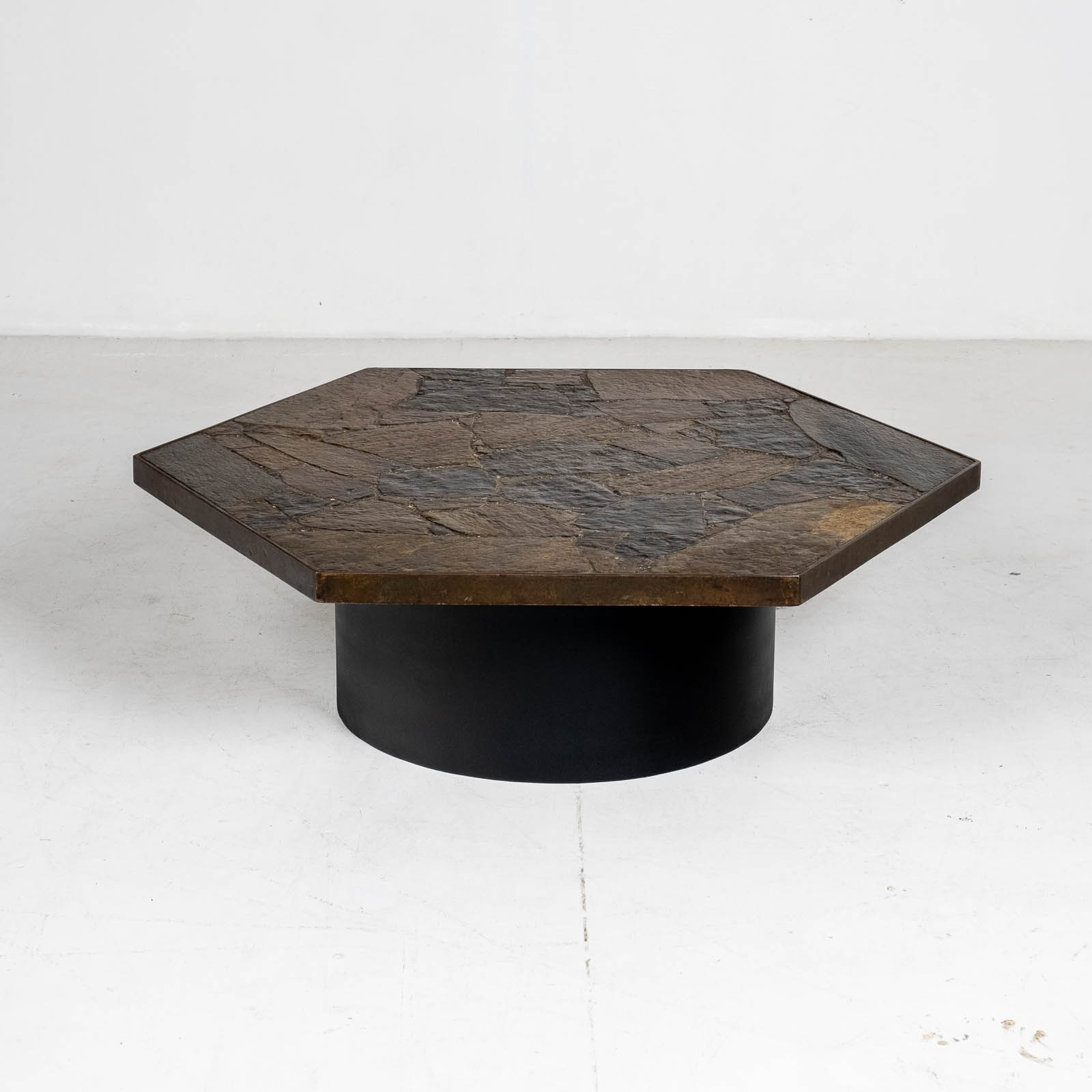 Hexagonal Coffee Table In The Style Of Paul Kingma With Stone Top And Metal Edge, 1970s, The Netherlands 00004
