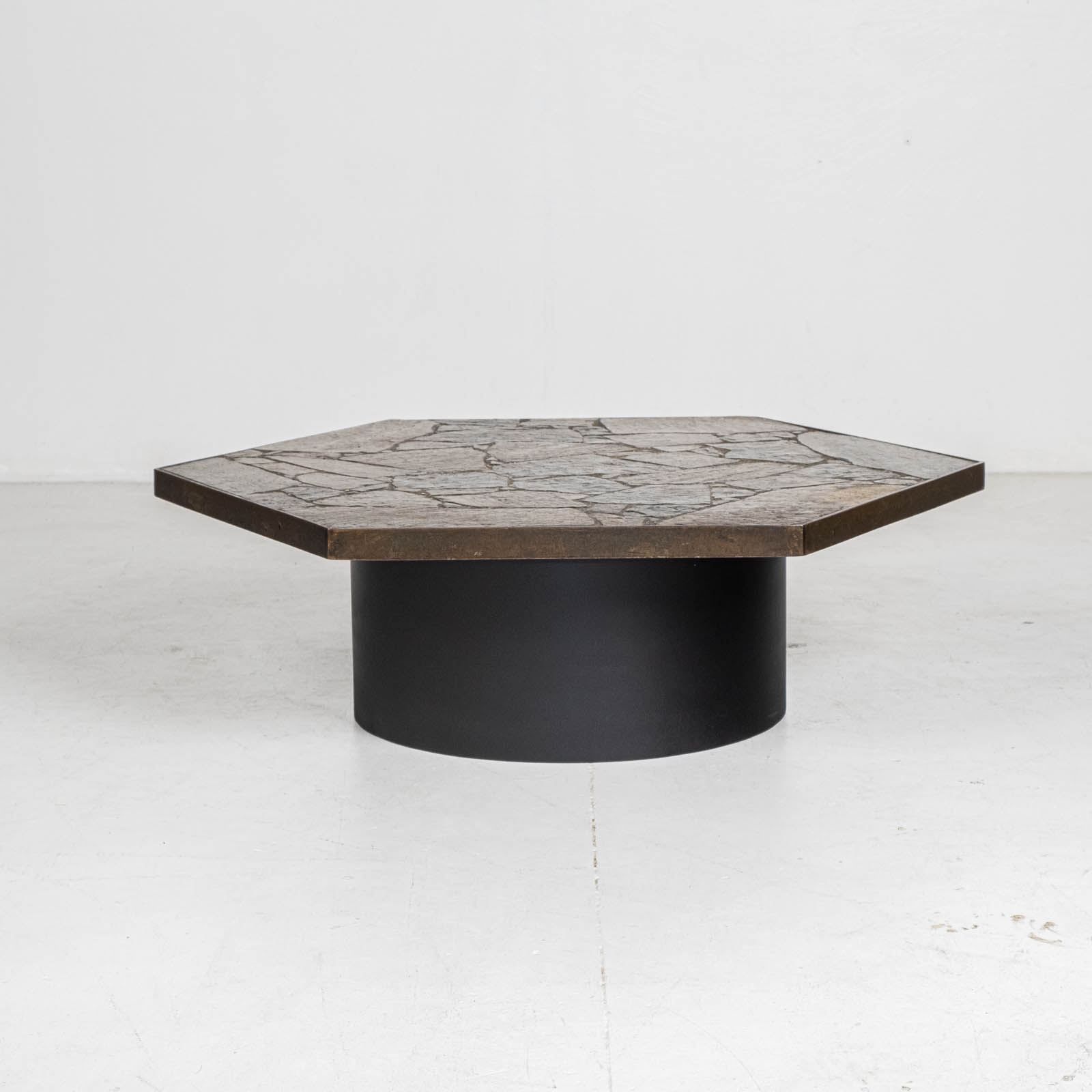 Hexagonal Coffee Table In The Style Of Paul Kingma With Stone Top And Metal Edge, 1970s, The Netherlands 00005