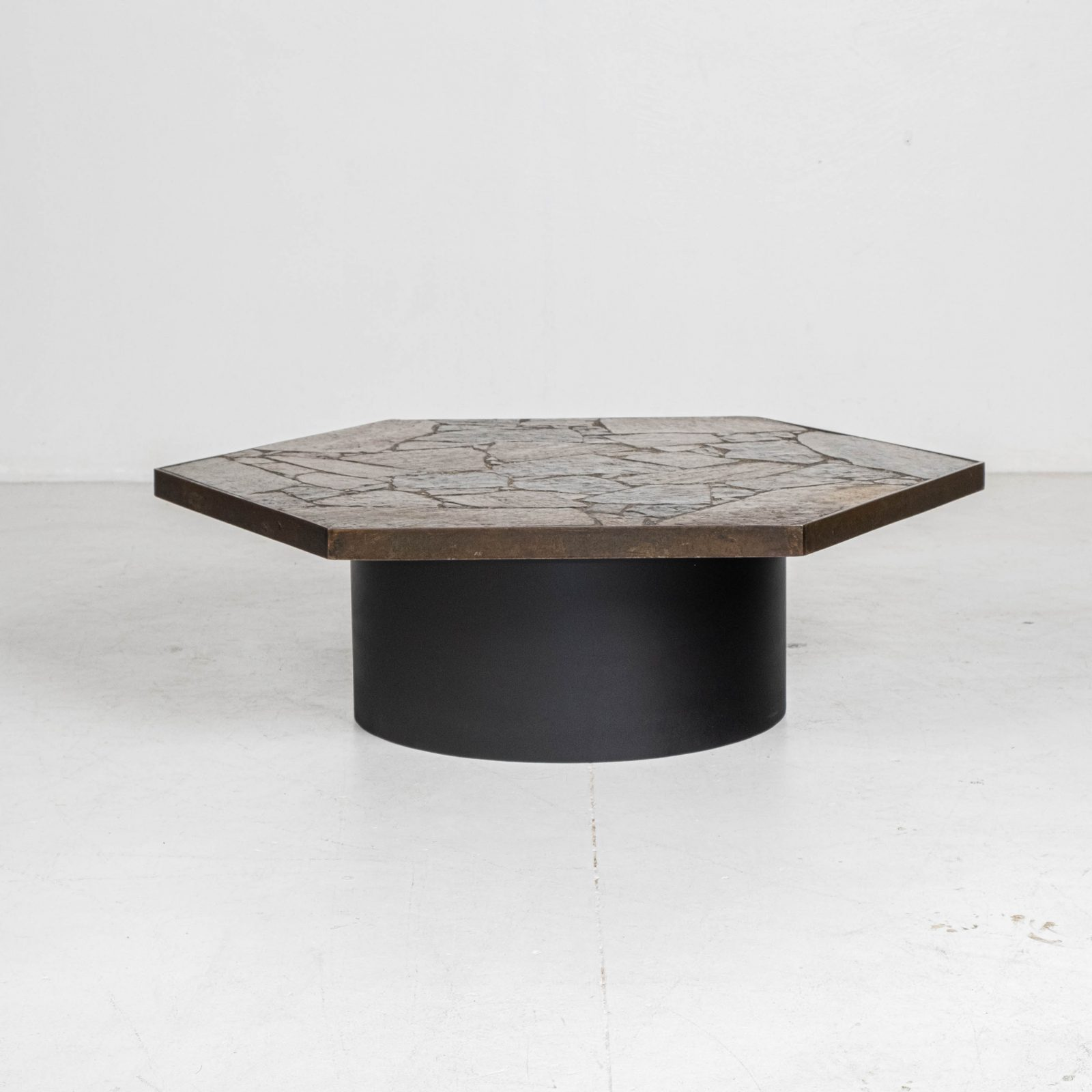 Hexagonal Coffee Table In The Style Of Paul Kingma With Stone Top And Metal Edge, 1970s, The Netherlands Hero 00001