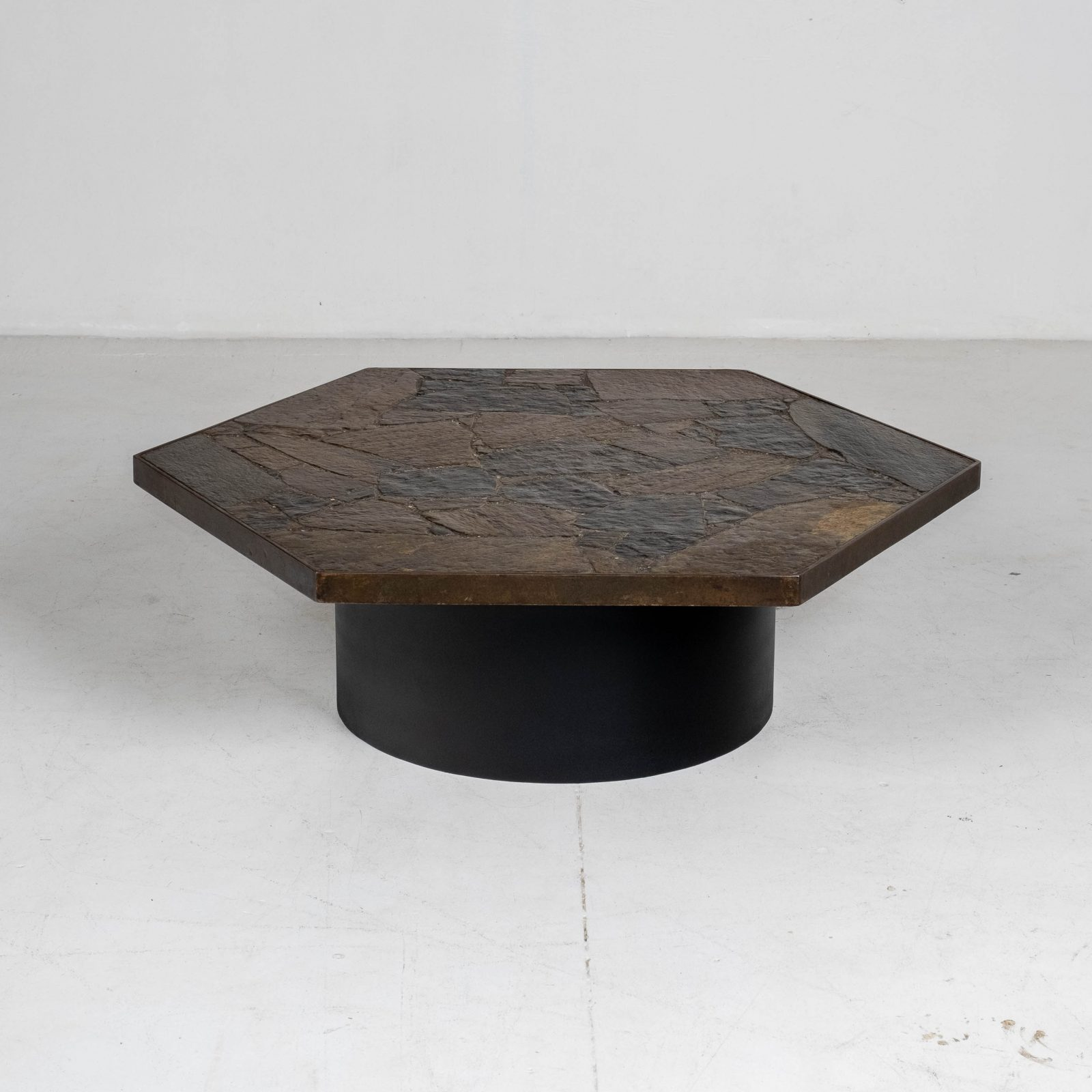 Hexagonal Coffee Table In The Style Of Paul Kingma With Stone Top And Metal Edge, 1970s, The Netherlands Hero 00002