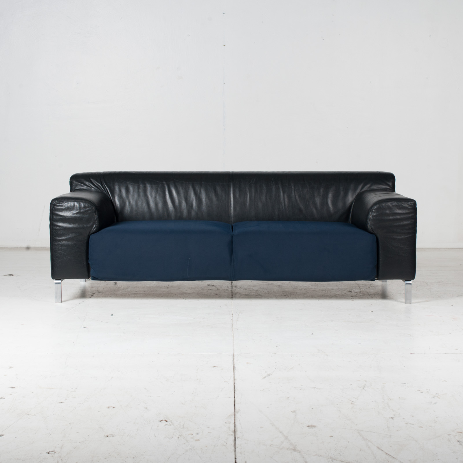 Model Greg 2 Seat Sofa By E. Progetti With Back Upholstered In Black Leather And Seat In Blue Fabric With Chrome Legs, 1960s, Italy 1
