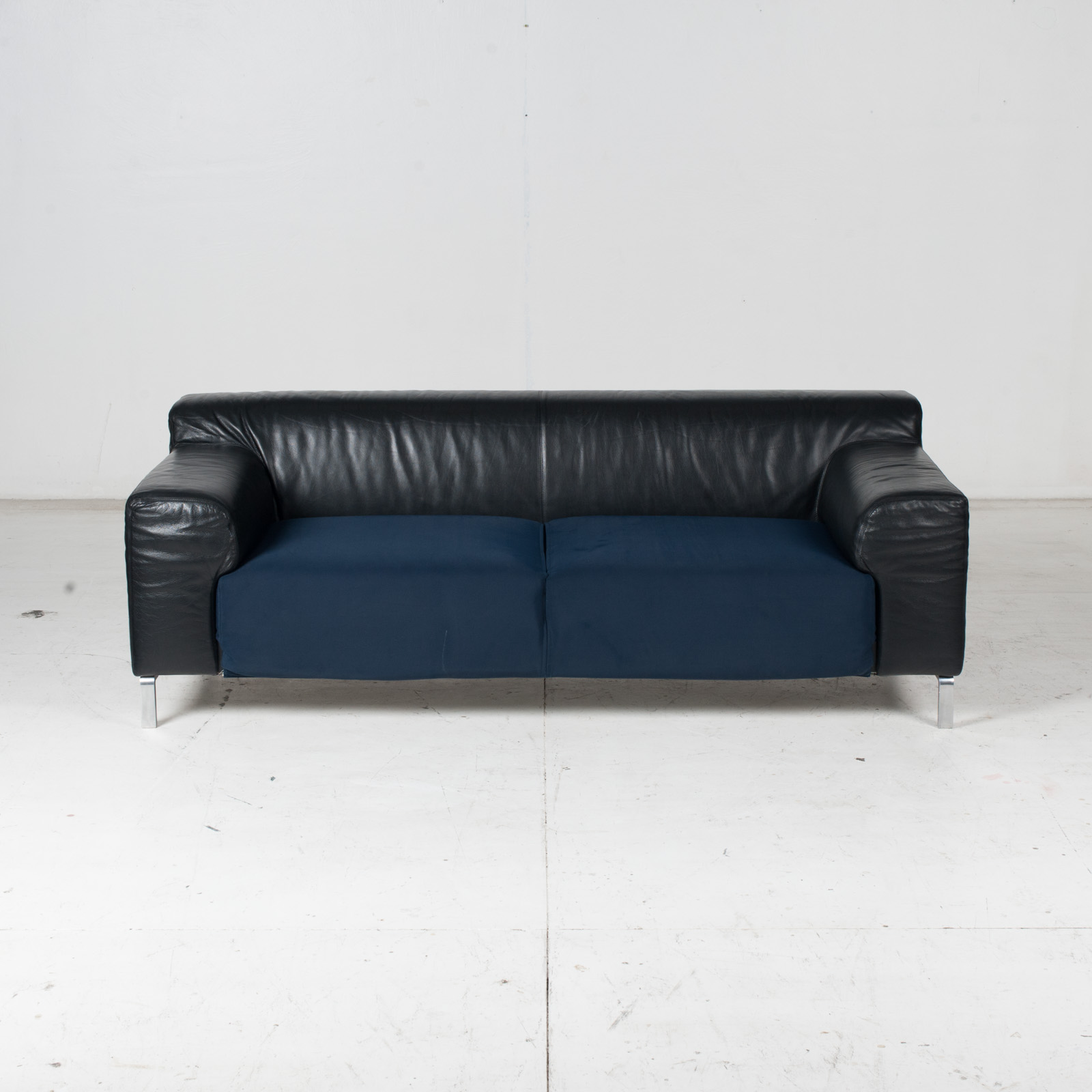 Model Greg 2 Seat Sofa By E. Progetti With Back Upholstered In Black Leather And Seat In Blue Fabric With Chrome Legs, 1960s, Italy 2