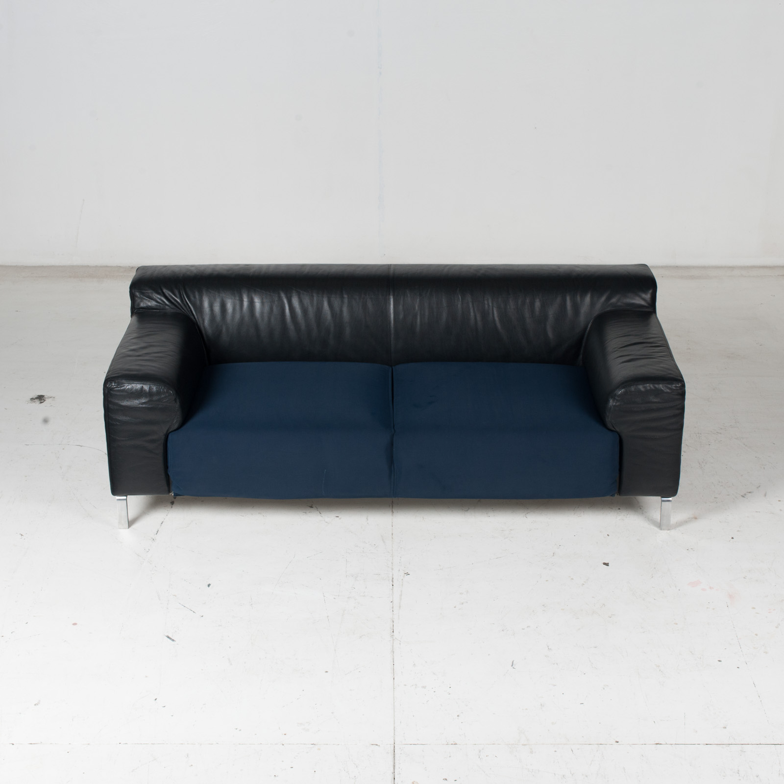 Model Greg 2 Seat Sofa By E. Progetti With Back Upholstered In Black Leather And Seat In Blue Fabric With Chrome Legs, 1960s, Italy 3