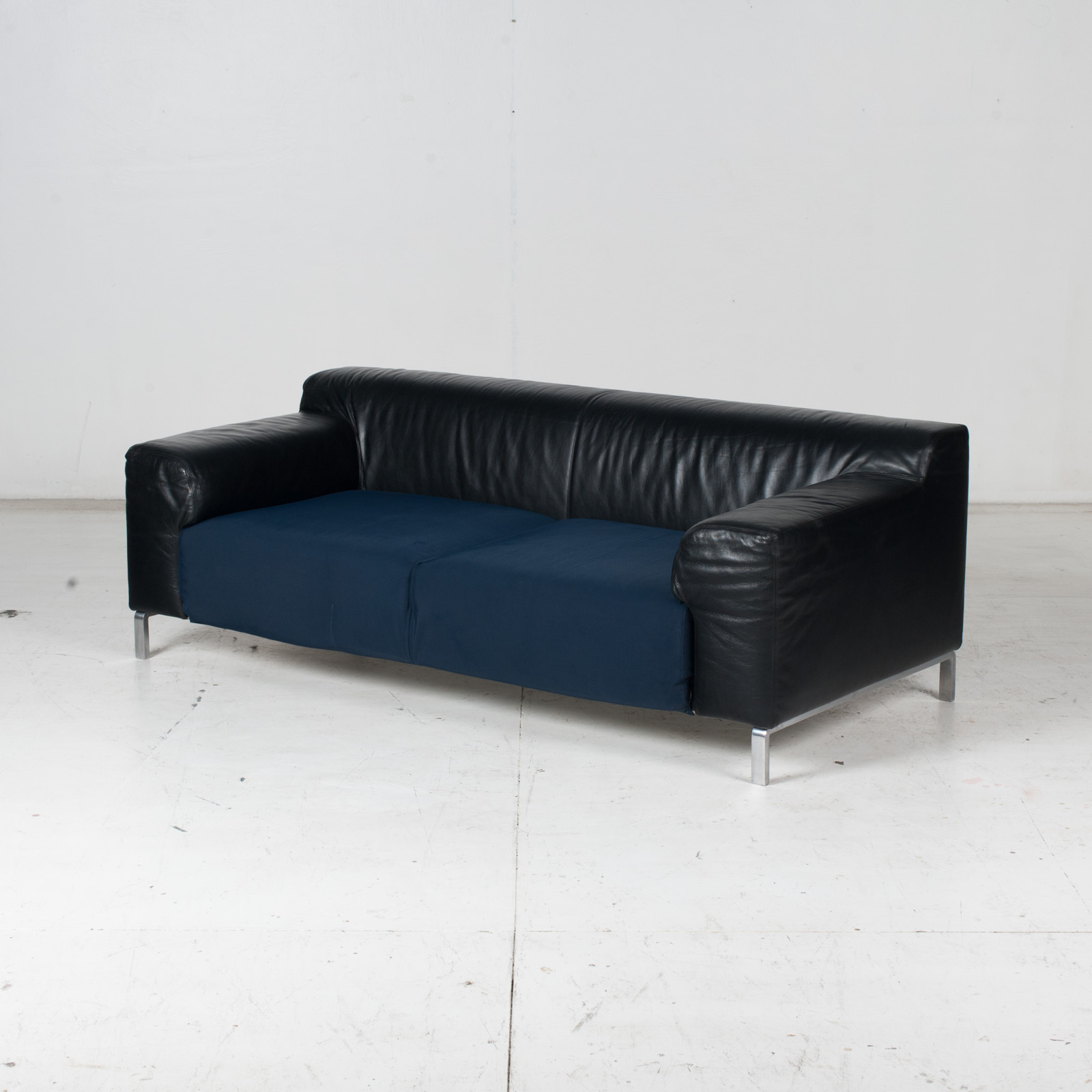 Model Greg 2 Seat Sofa By E. Progetti With Back Upholstered In Black Leather And Seat In Blue Fabric With Chrome Legs, 1960s, Italy 4