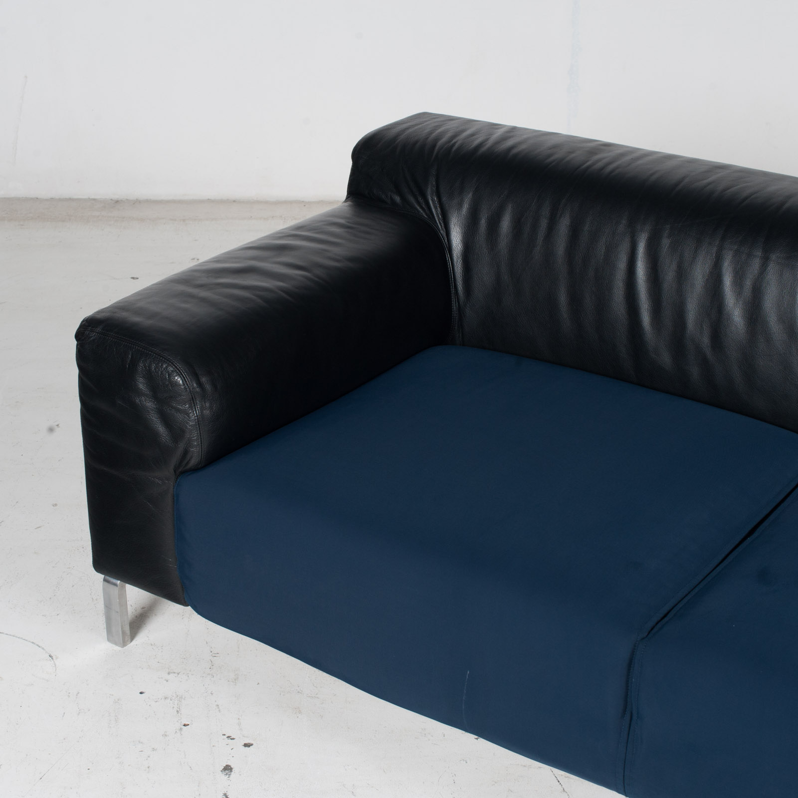 Model Greg 2 Seat Sofa By E. Progetti With Back Upholstered In Black Leather And Seat In Blue Fabric With Chrome Legs, 1960s, Italy 5