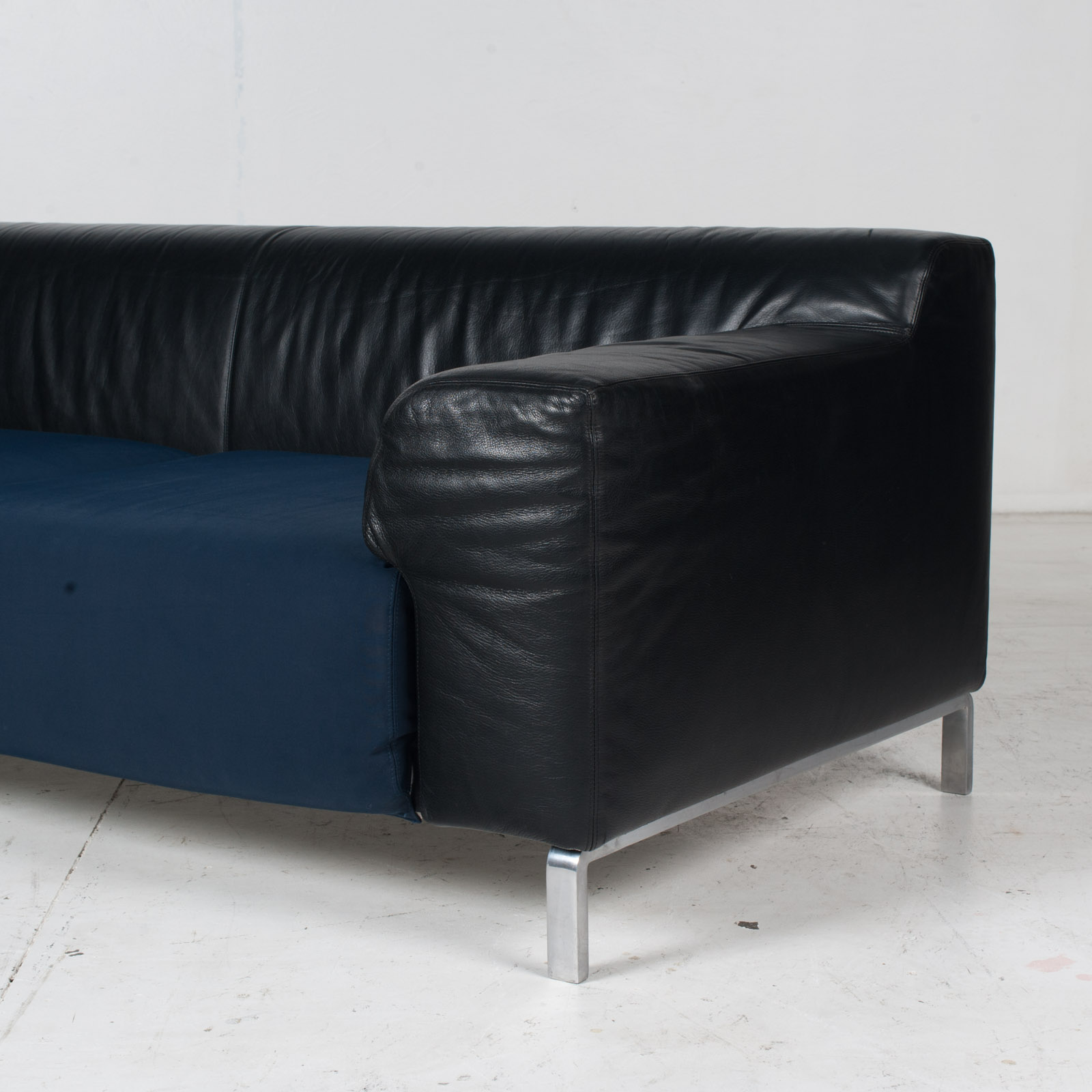 Model Greg 2 Seat Sofa By E. Progetti With Back Upholstered In Black Leather And Seat In Blue Fabric With Chrome Legs, 1960s, Italy 6