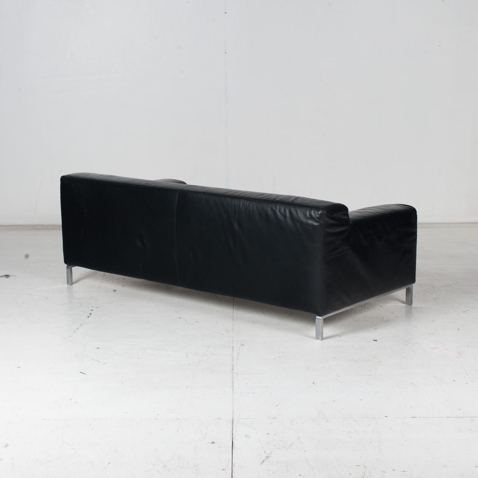 Model Greg 2 Seat Sofa By E. Progetti With Back Upholstered In Black Leather And Seat In Blue Fabric With Chrome Legs, 1960s, Italy 7