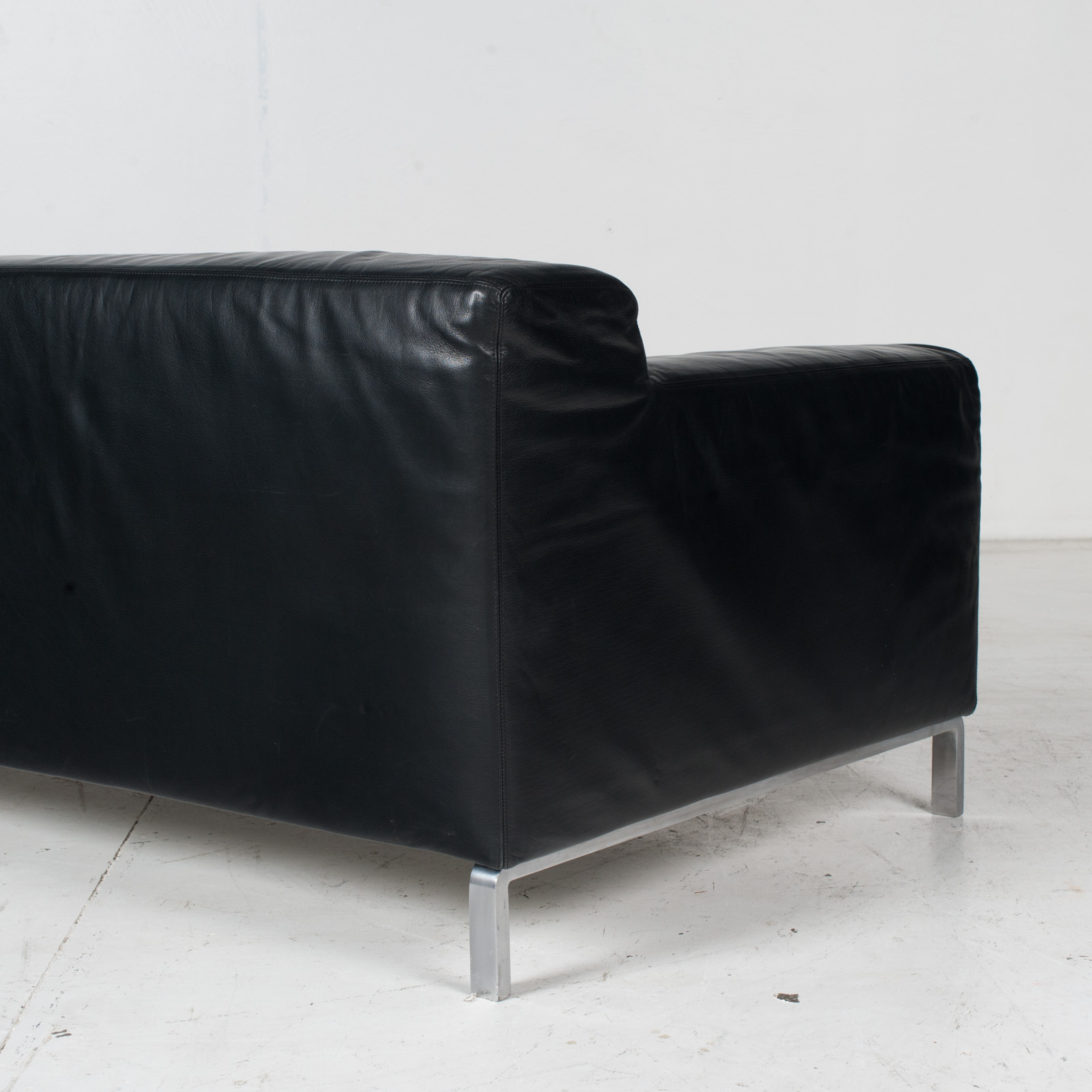 Model Greg 2 Seat Sofa By E. Progetti With Back Upholstered In Black Leather And Seat In Blue Fabric With Chrome Legs, 1960s, Italy 8