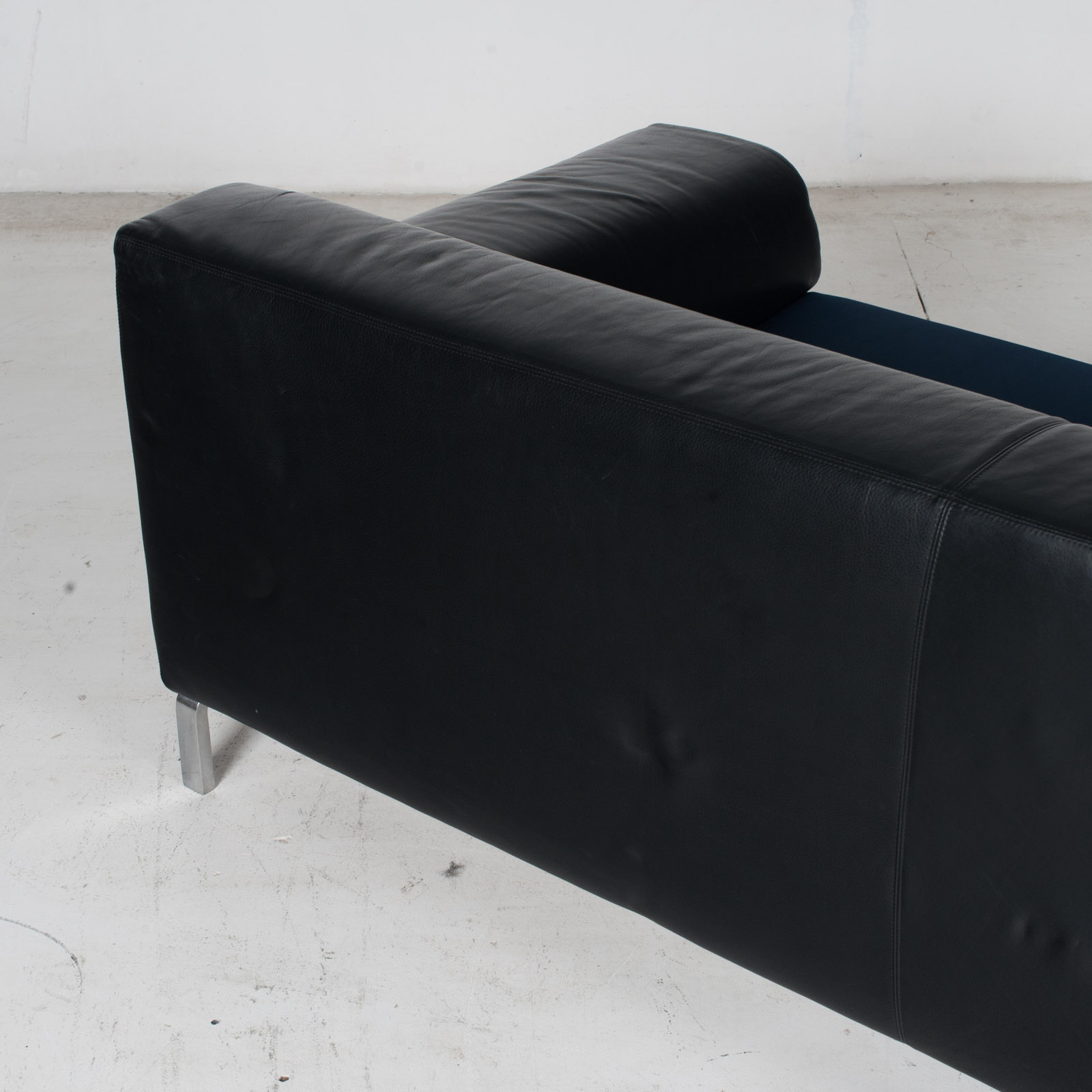 Model Greg 2 Seat Sofa By E. Progetti With Back Upholstered In Black Leather And Seat In Blue Fabric With Chrome Legs, 1960s, Italy 9
