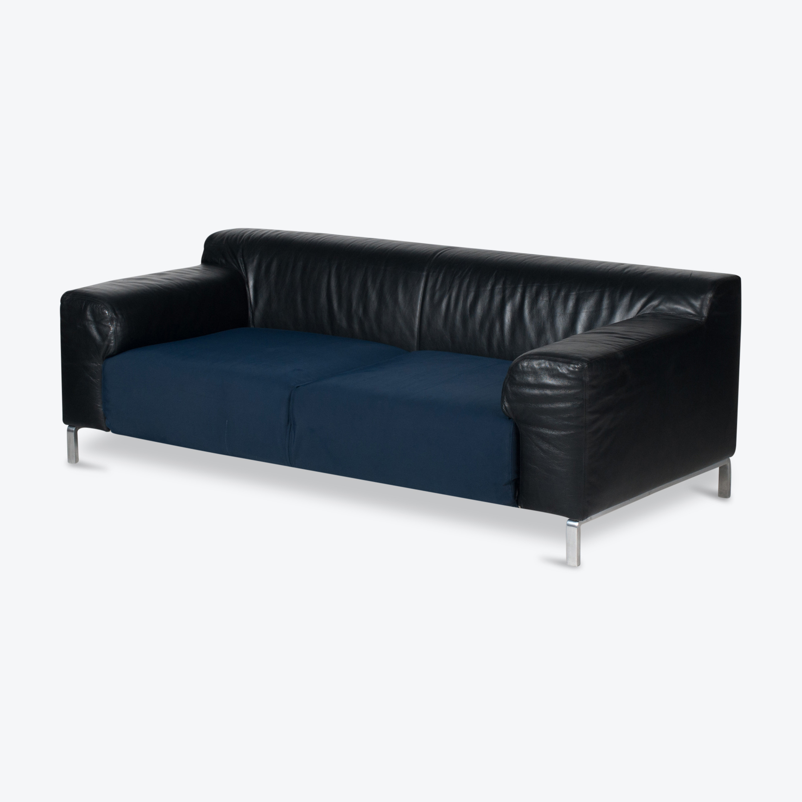 Model Greg 2 Seat Sofa By E. Progetti With Back Upholstered In Black Leather And Seat In Blue Fabric With Chrome Legs, 1960s, Italy Hero