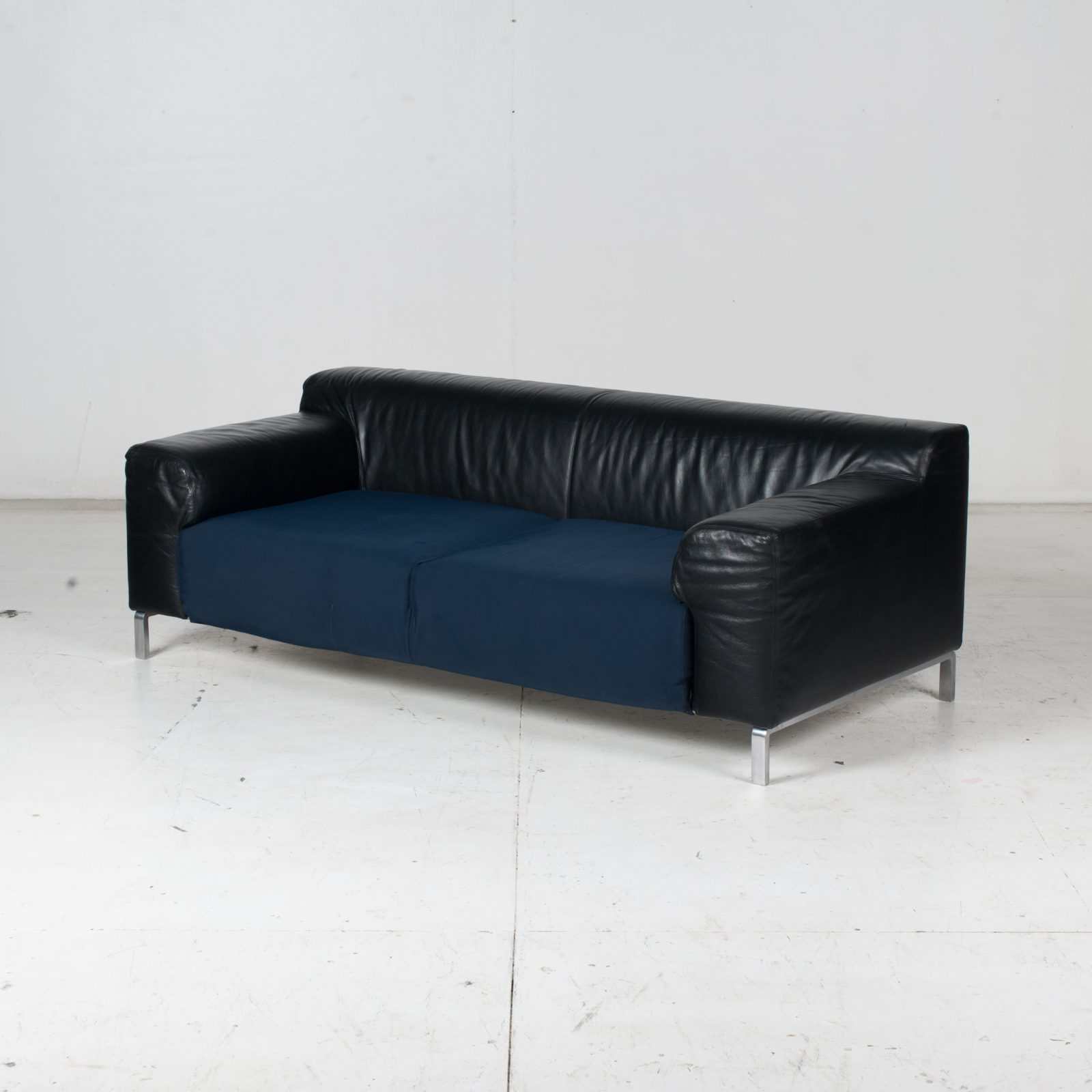 Model Greg 2 Seat Sofa By E. Progetti With Back Upholstered In Black Leather And Seat In Blue Fabric With Chrome Legs, 1960s, Italy High Res