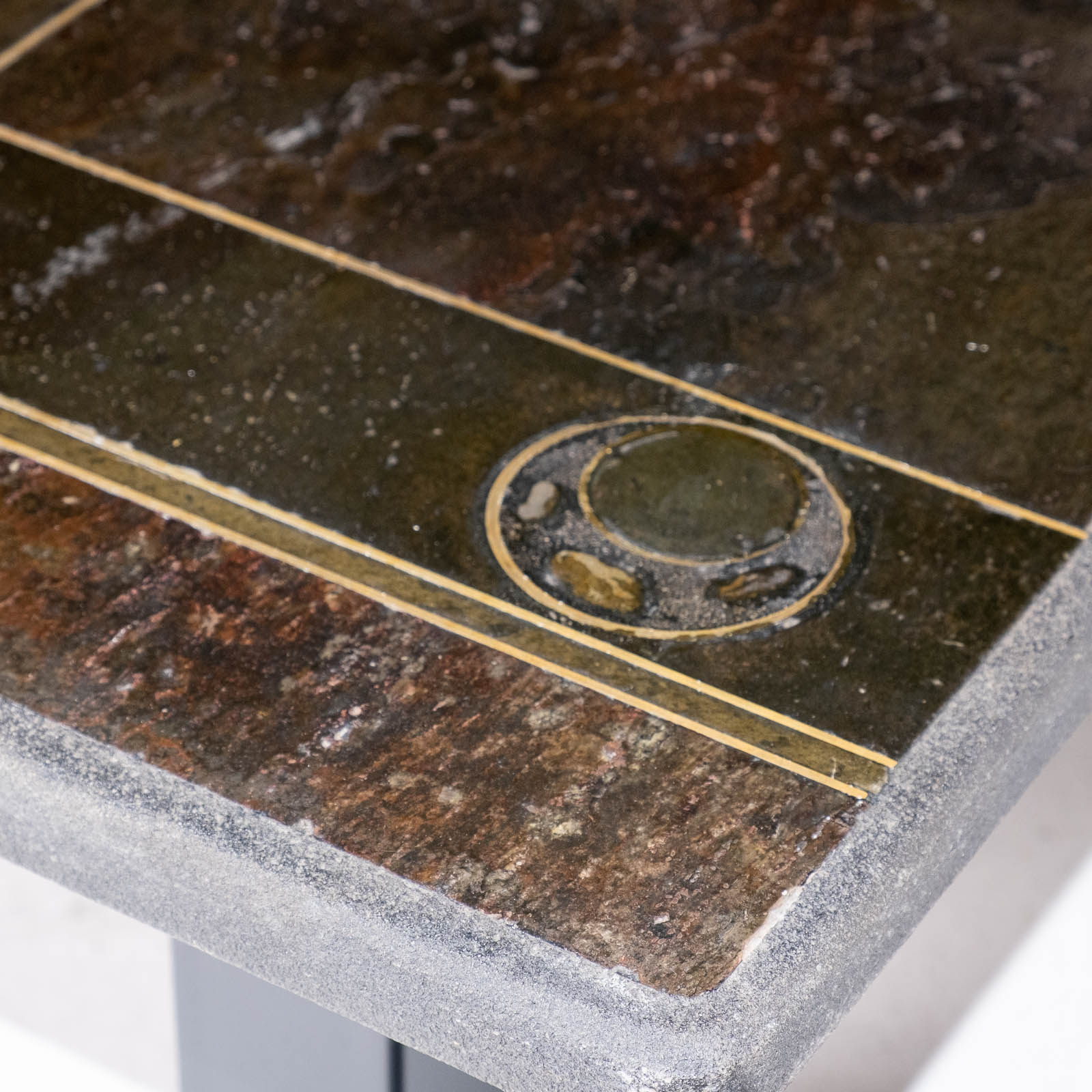 Rectangular Coffee Table By Paul Kingma In Stone, Slate And Brass, 1970s, The Netherlands 00002