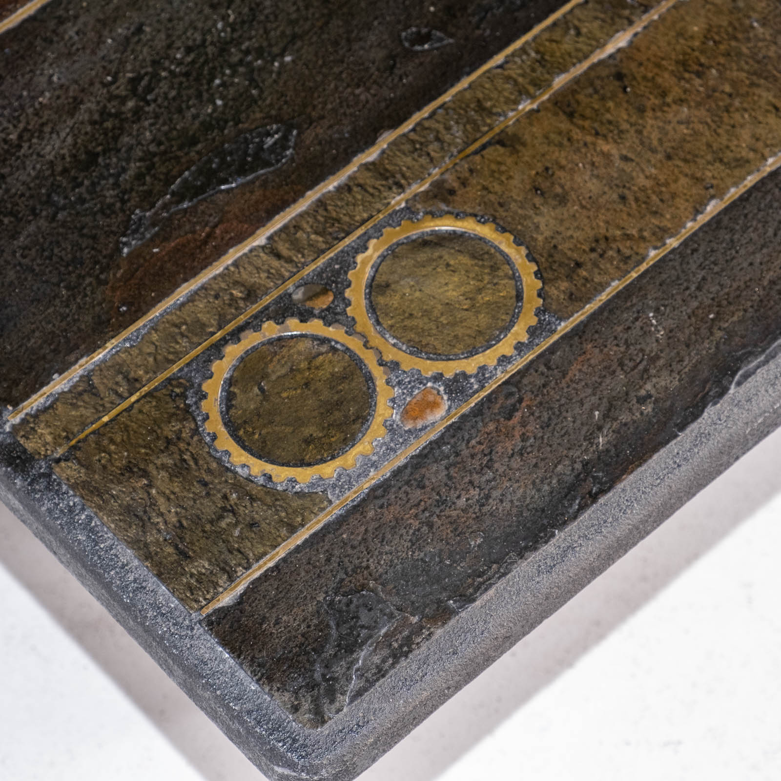 Rectangular Coffee Table By Paul Kingma In Stone, Slate And Brass, 1970s, The Netherlands 00003