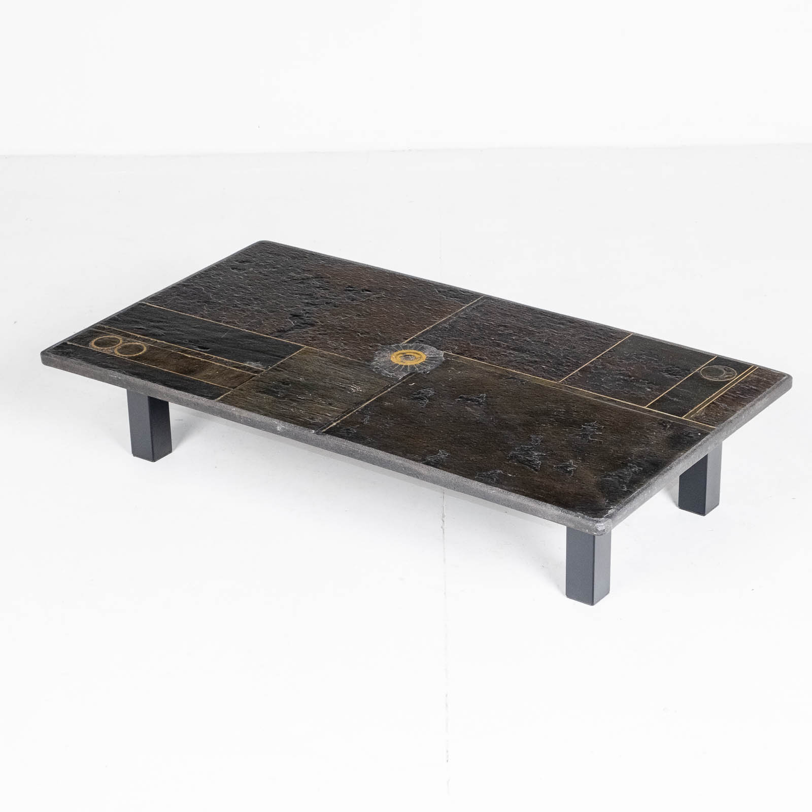 Rectangular Coffee Table By Paul Kingma In Stone, Slate And Brass, 1970s, The Netherlands 00005