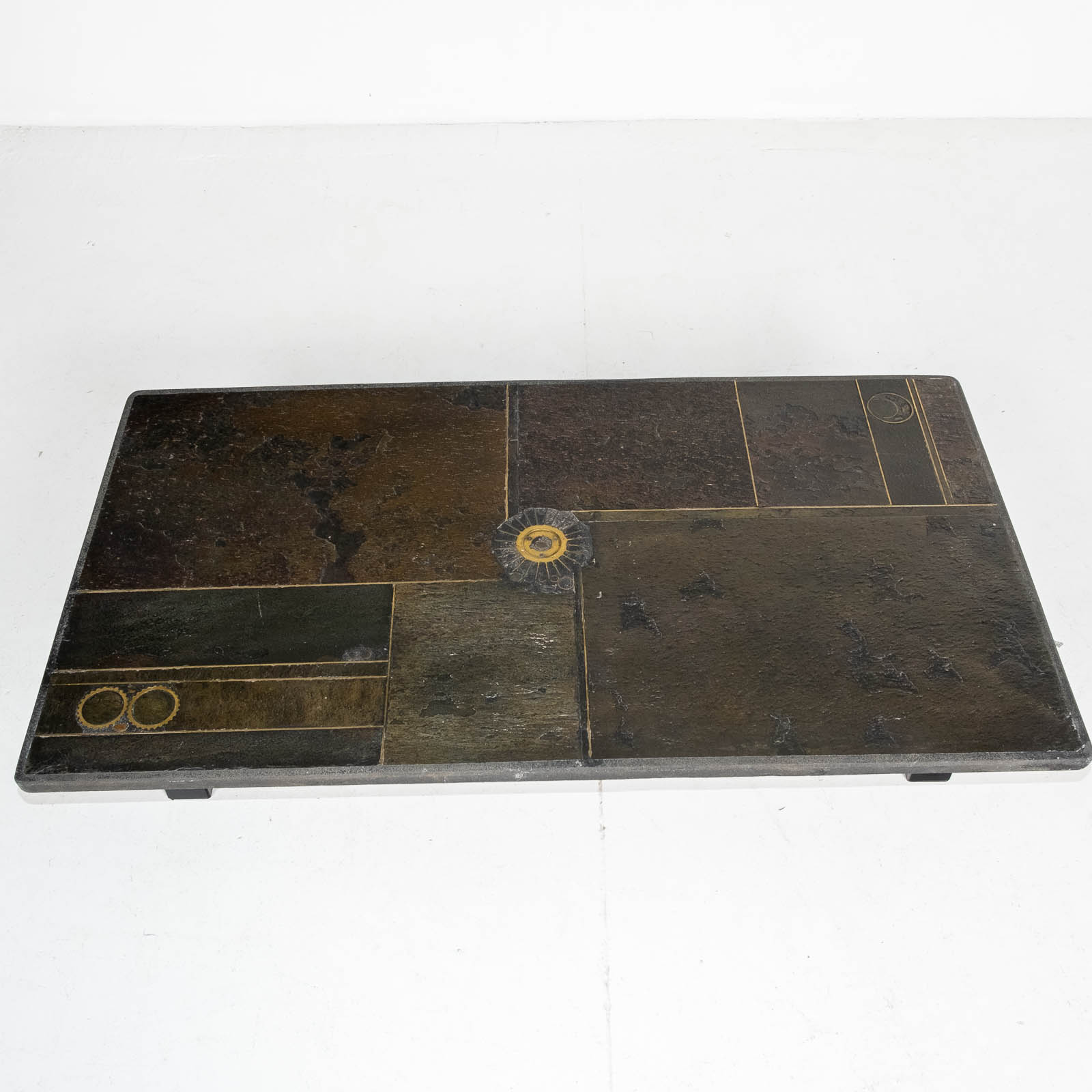 Rectangular Coffee Table By Paul Kingma In Stone, Slate And Brass, 1970s, The Netherlands 00006