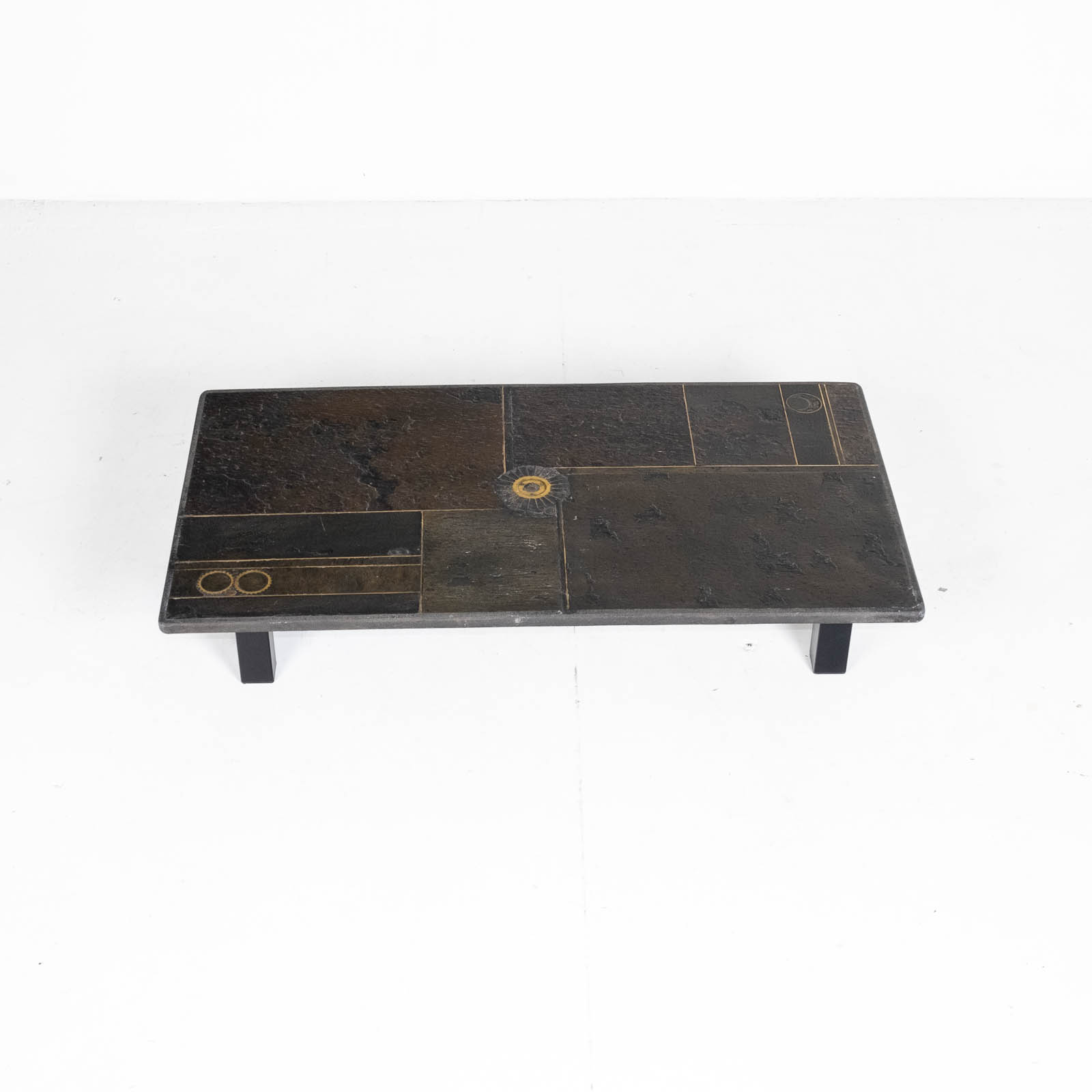 Rectangular Coffee Table By Paul Kingma In Stone, Slate And Brass, 1970s, The Netherlands 00007