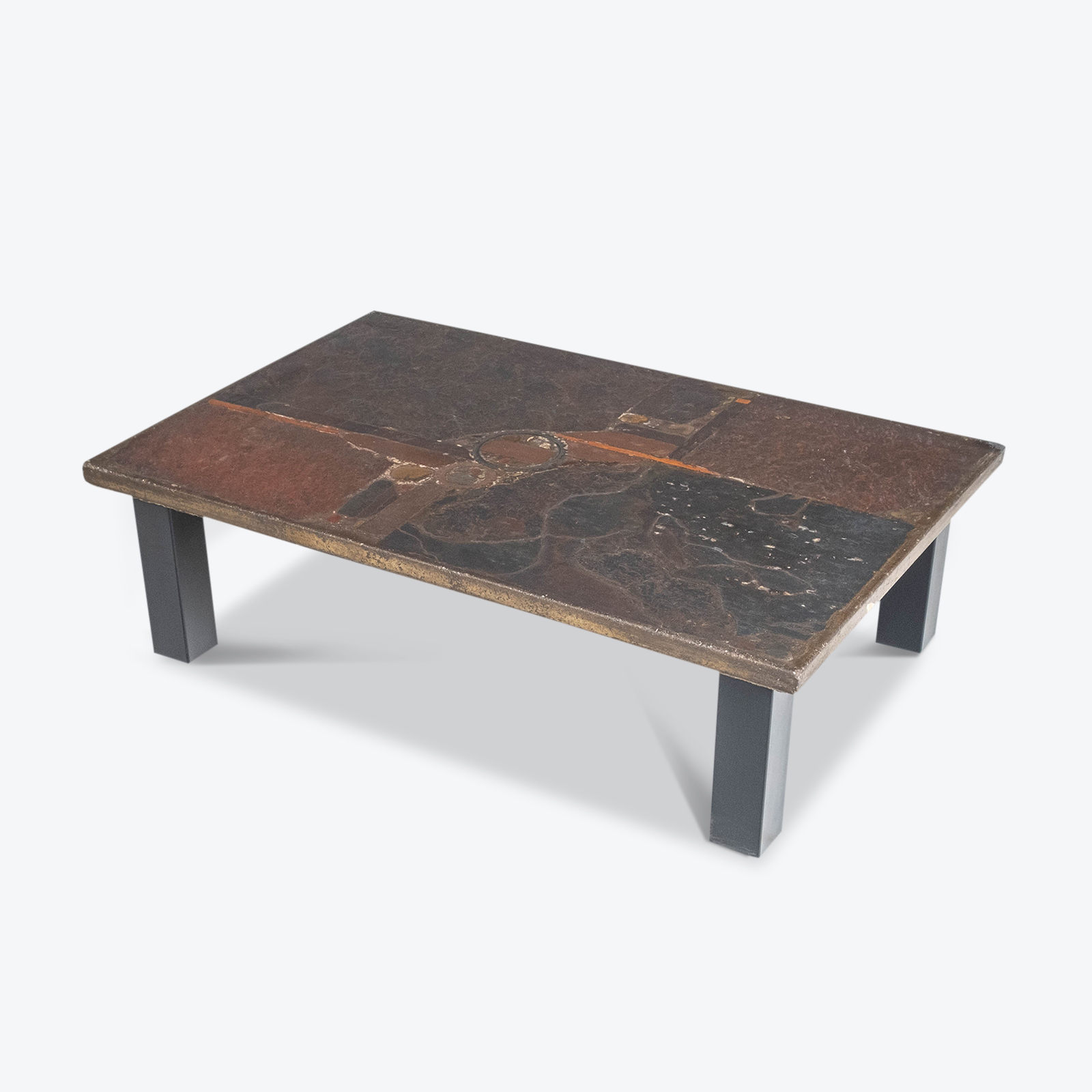 Rectangular Coffee Table By Paul Kingma In Stone And Slate, 1970s, The Netherlands Hero