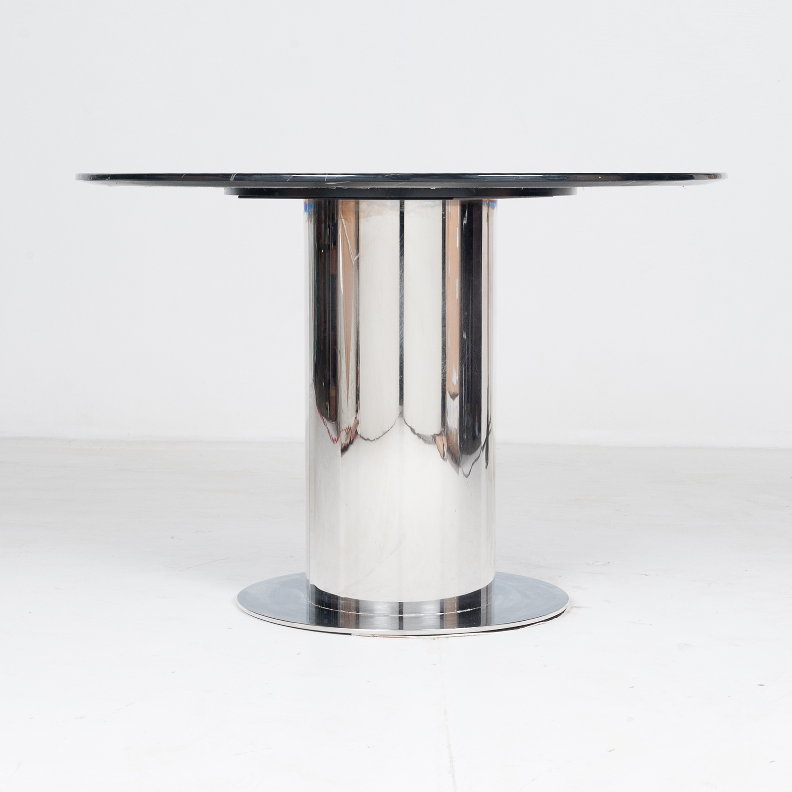 Round Dining Table With Marble Top And Chrome Base In The Style Of Ettore Sottsass, 1980s, The Netherlands 1