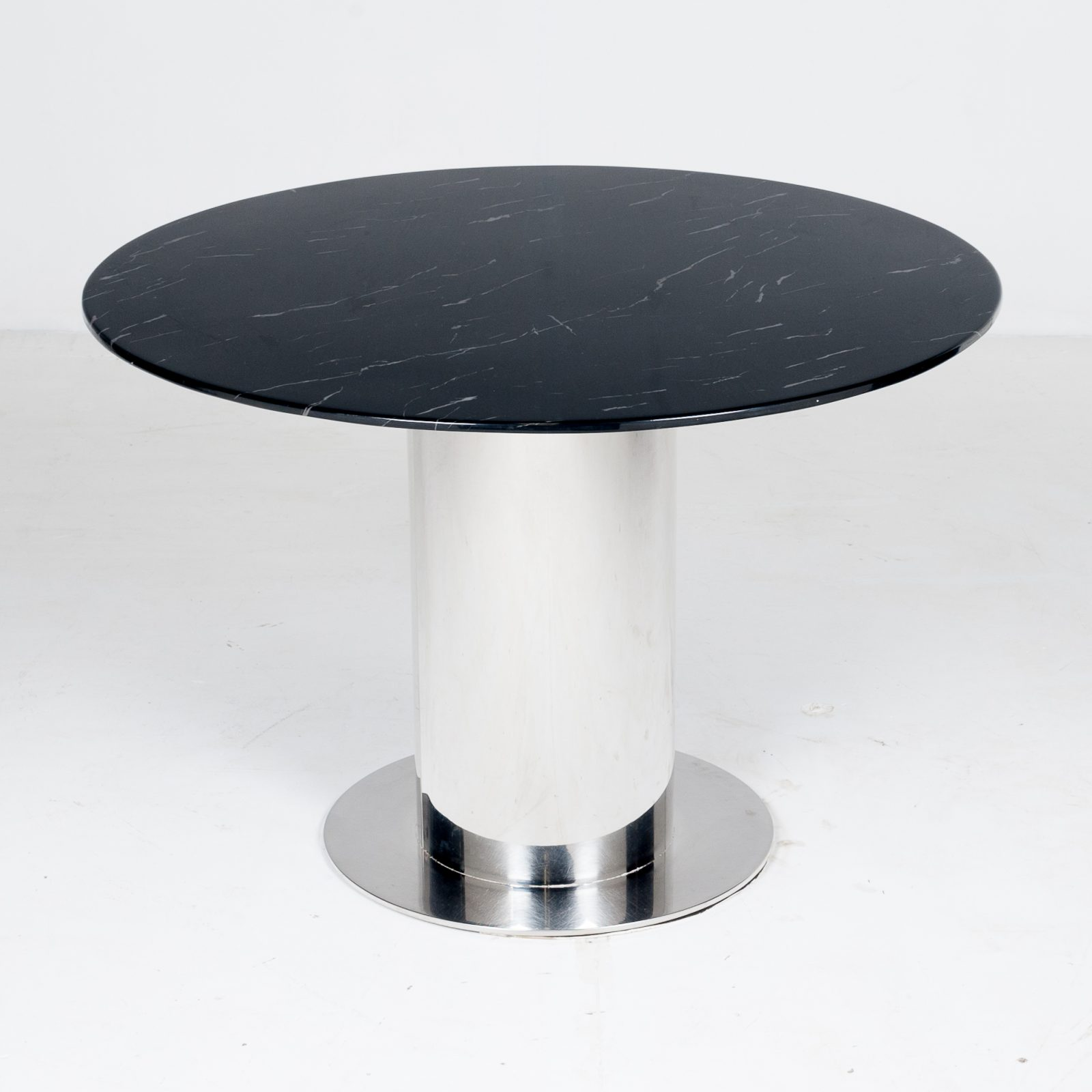 Round Dining Table With Marble Top And Chrome Base In The Style Of Ettore Sottsass, 1980s, The Netherlands 2