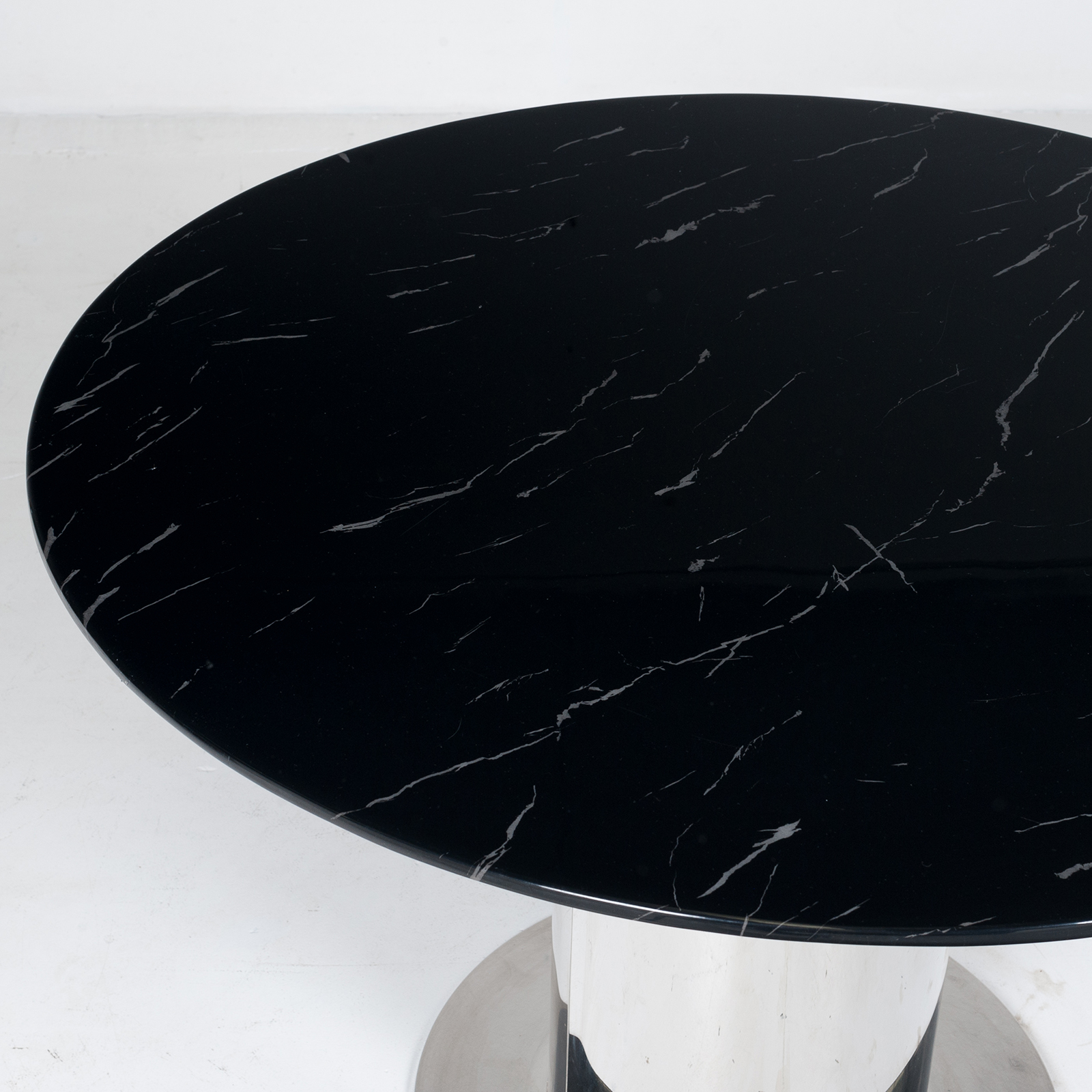 Round Dining Table With Marble Top And Chrome Base In The Style Of Ettore Sottsass, 1980s, The Netherlands 3