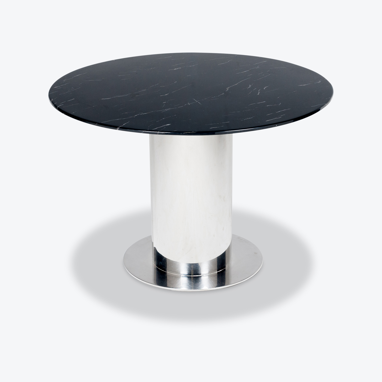 Round Dining Table With Marble Top And Chrome Base In The Style Of Ettore Sottsass, 1980s, The Netherlands Hero