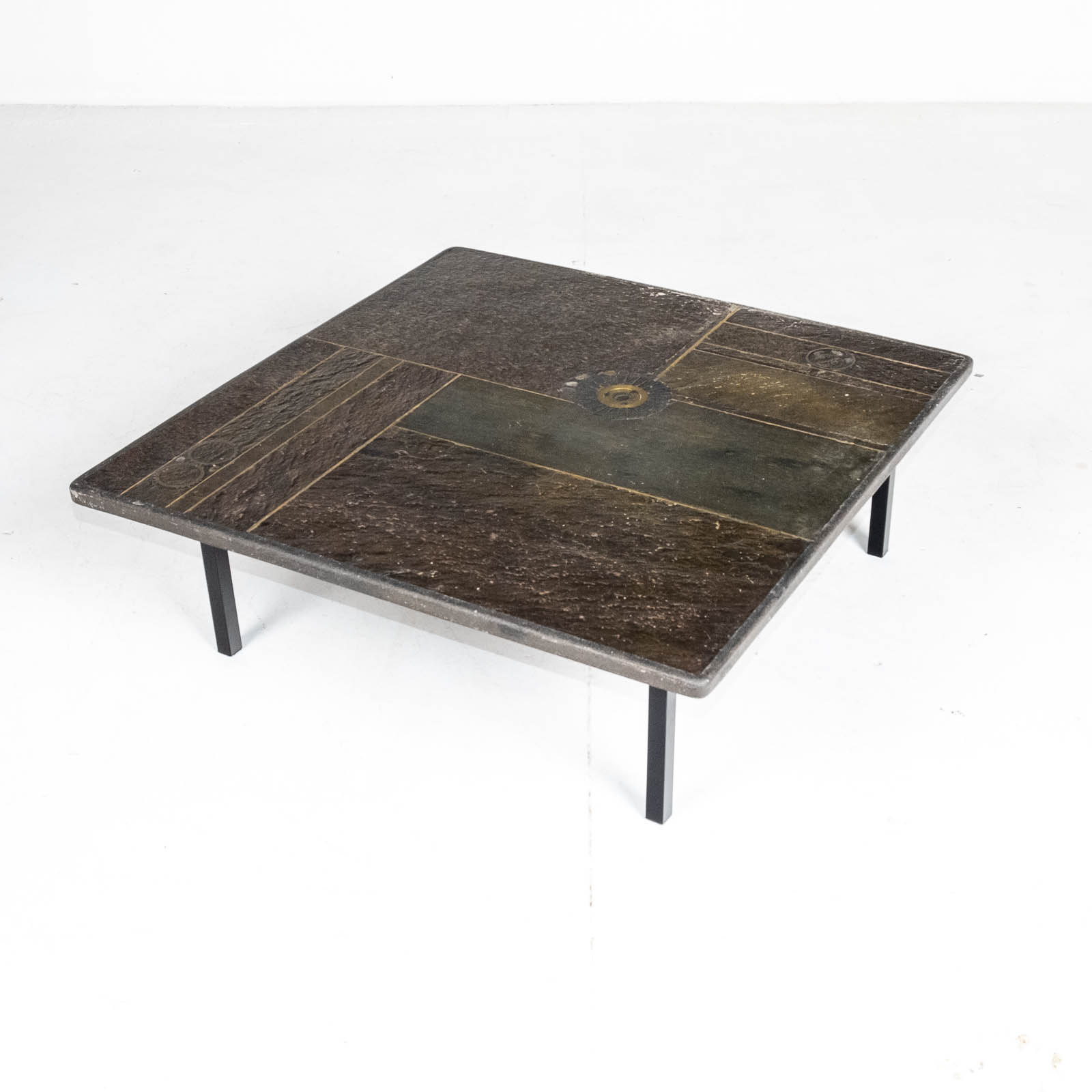 Square Coffee Table By Paul Kingma In Stone, Slate And Brass, 1970s, The Netherlands 00001