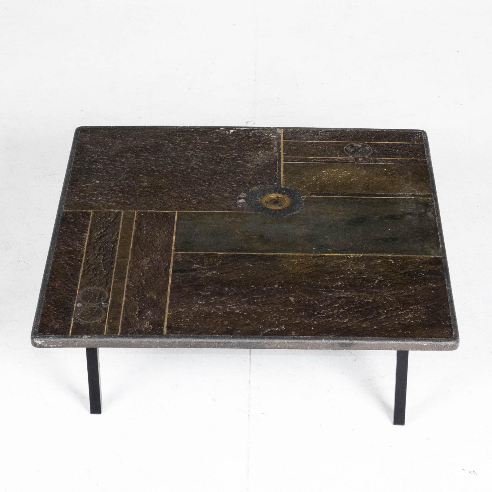 Square Coffee Table By Paul Kingma In Stone, Slate And Brass, 1970s, The Netherlands Hero 1