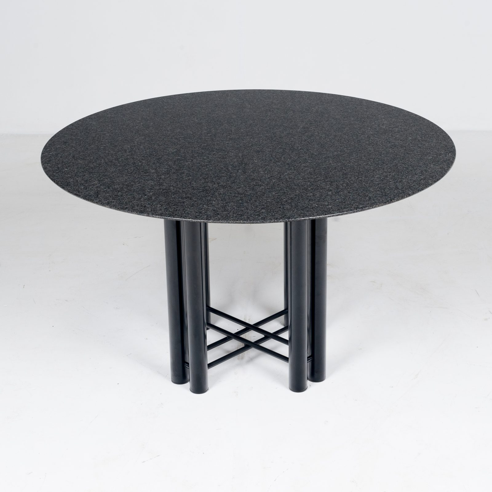 Round Dining Table By Metaform In Black Granite, 1970s, The Netherlands2