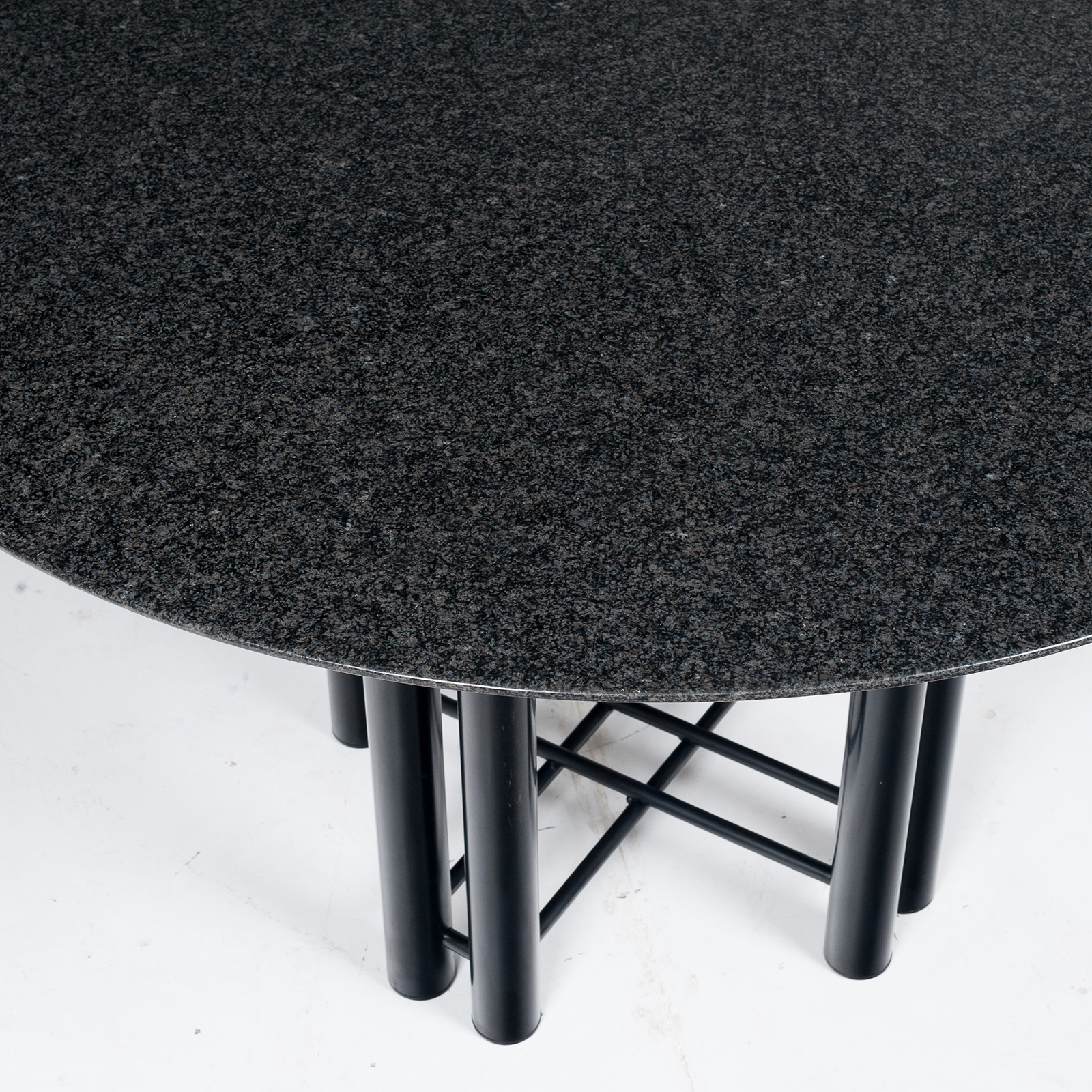 Round Dining Table By Metaform In Black Granite, 1970s, The Netherlands3