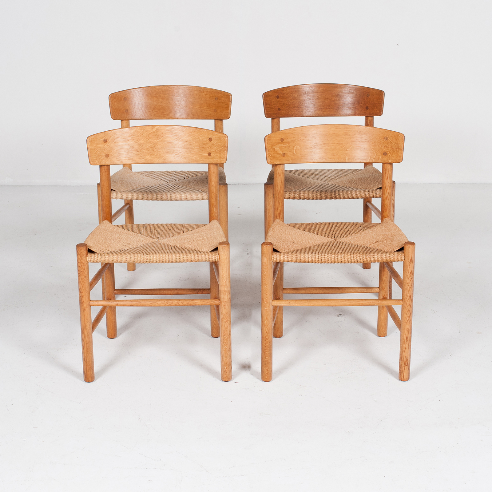Set Of 4 Model J39 Mogensen Chairs By Borge Mogensen In Oak And Paper Cord, 1960s, Denmark94