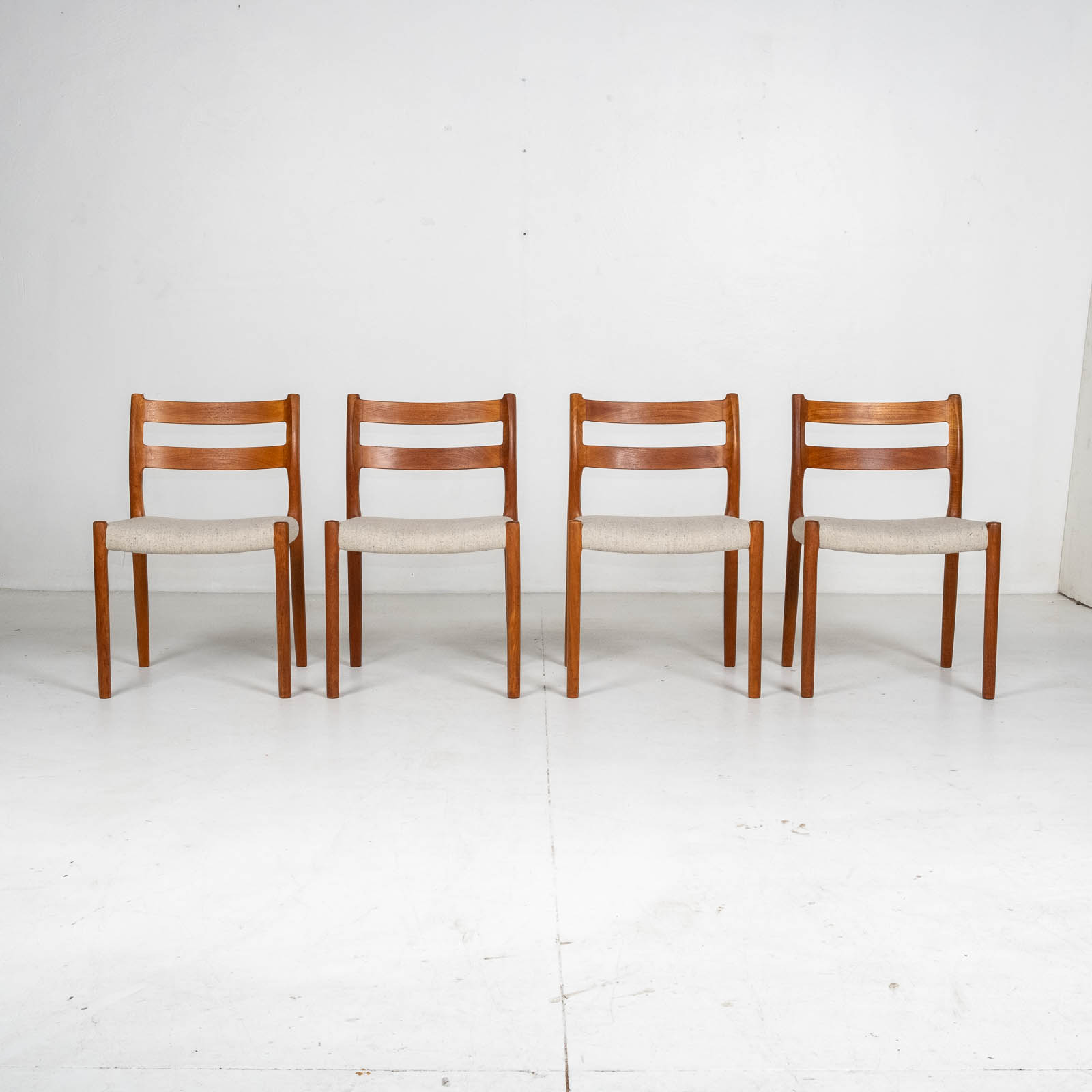 Set Of Four Ladder Back Dining Chairs By Niels Moller In Teak, 1960s, Denmark1