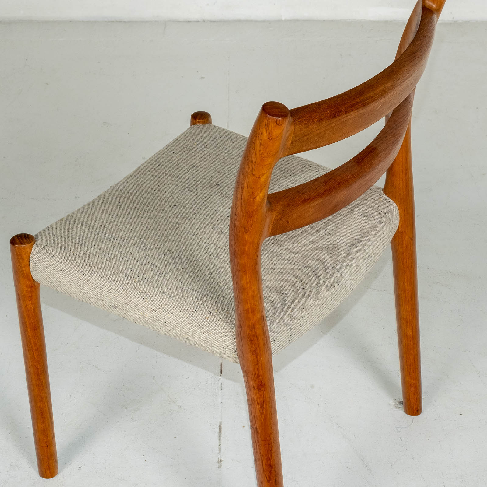 Set Of Four Ladder Back Dining Chairs By Niels Moller In Teak, 1960s, Denmark3
