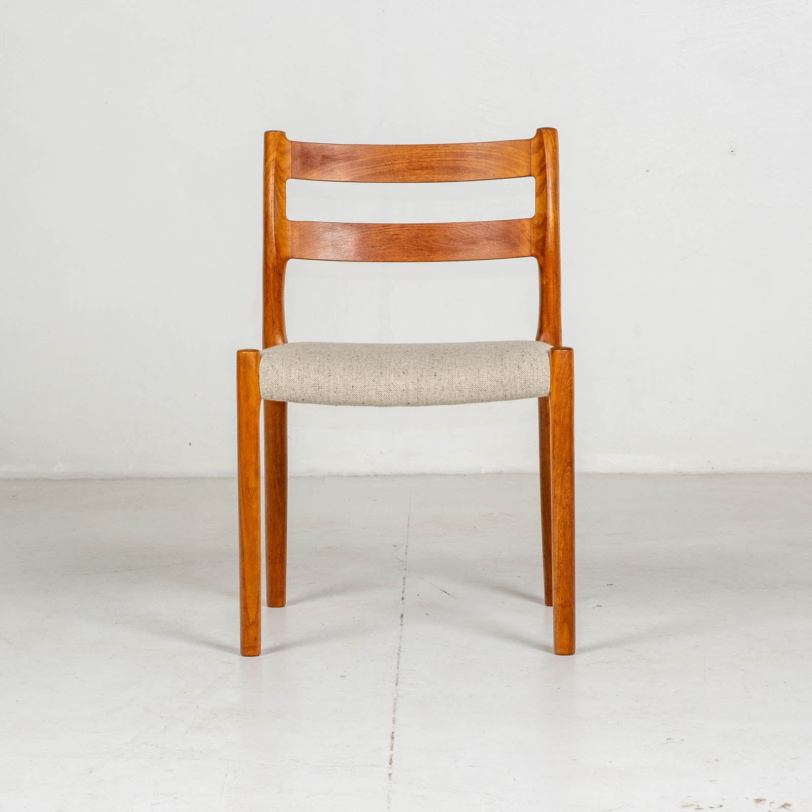 Set Of Four Ladder Back Dining Chairs By Niels Moller In Teak, 1960s, Denmark6