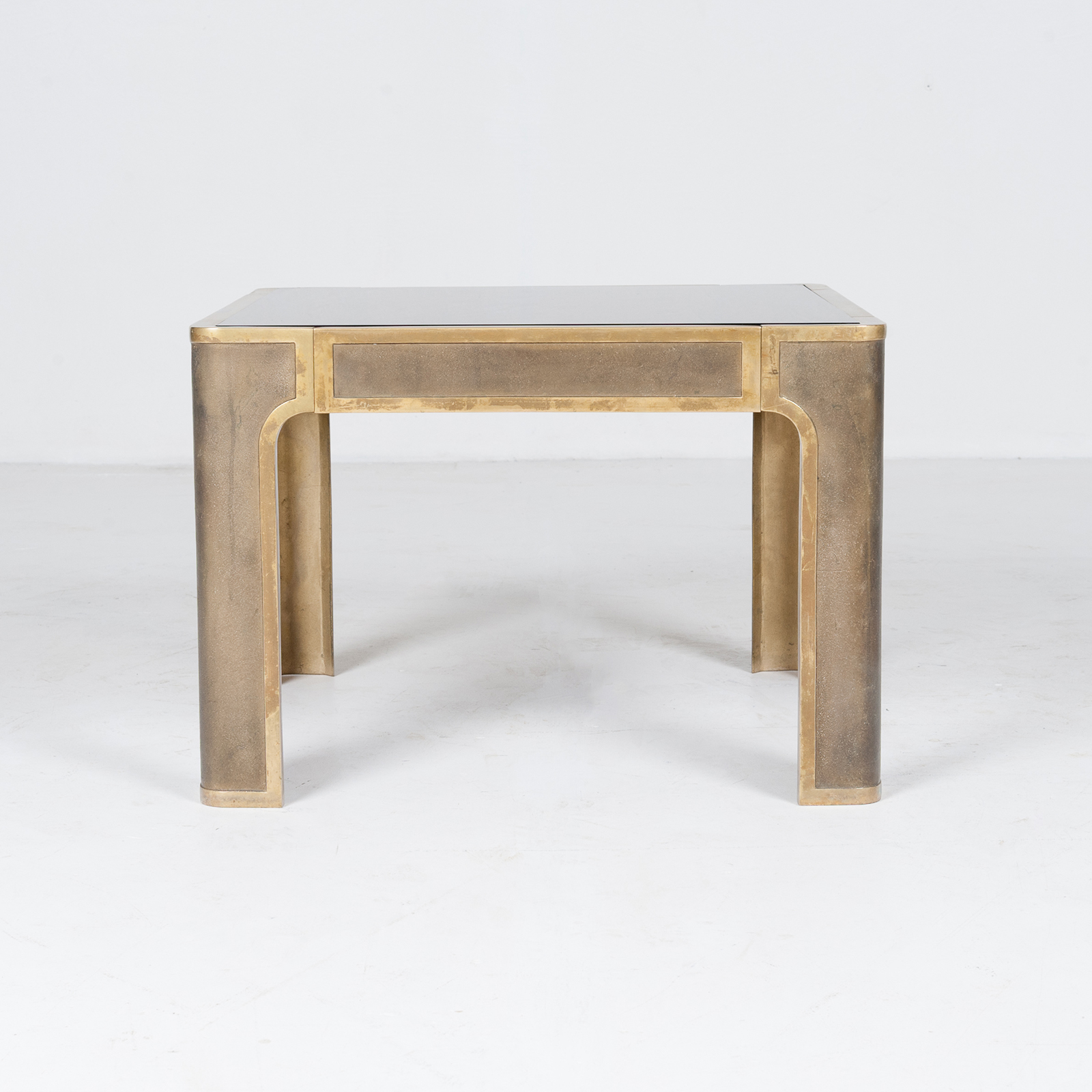 Square Coffee Table By Peter Ghyczy With Smoked Glass Top And Embossed Base, 1970s, The Netherlands894
