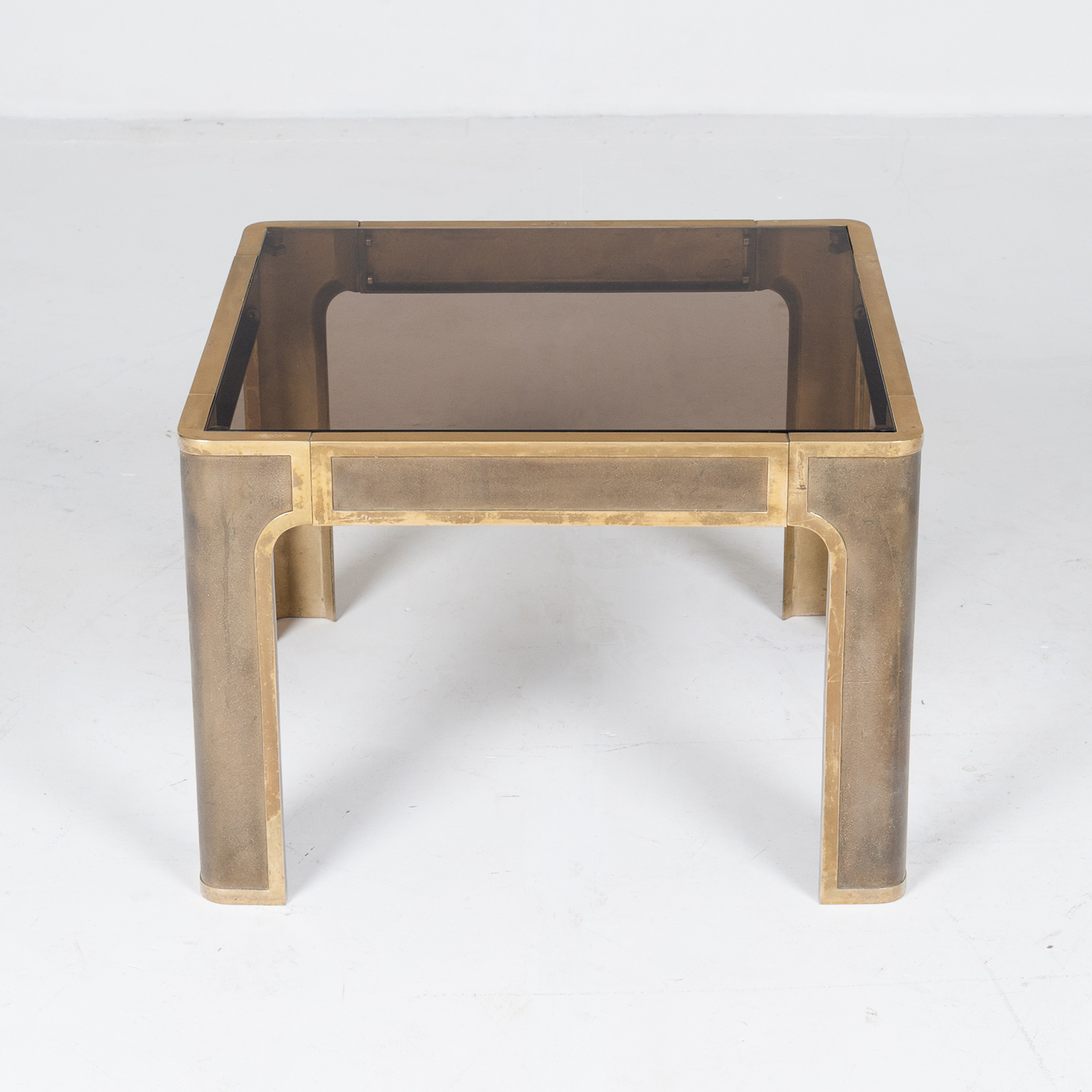 Square Coffee Table By Peter Ghyczy With Smoked Glass Top And Embossed Base, 1970s, The Netherlands895