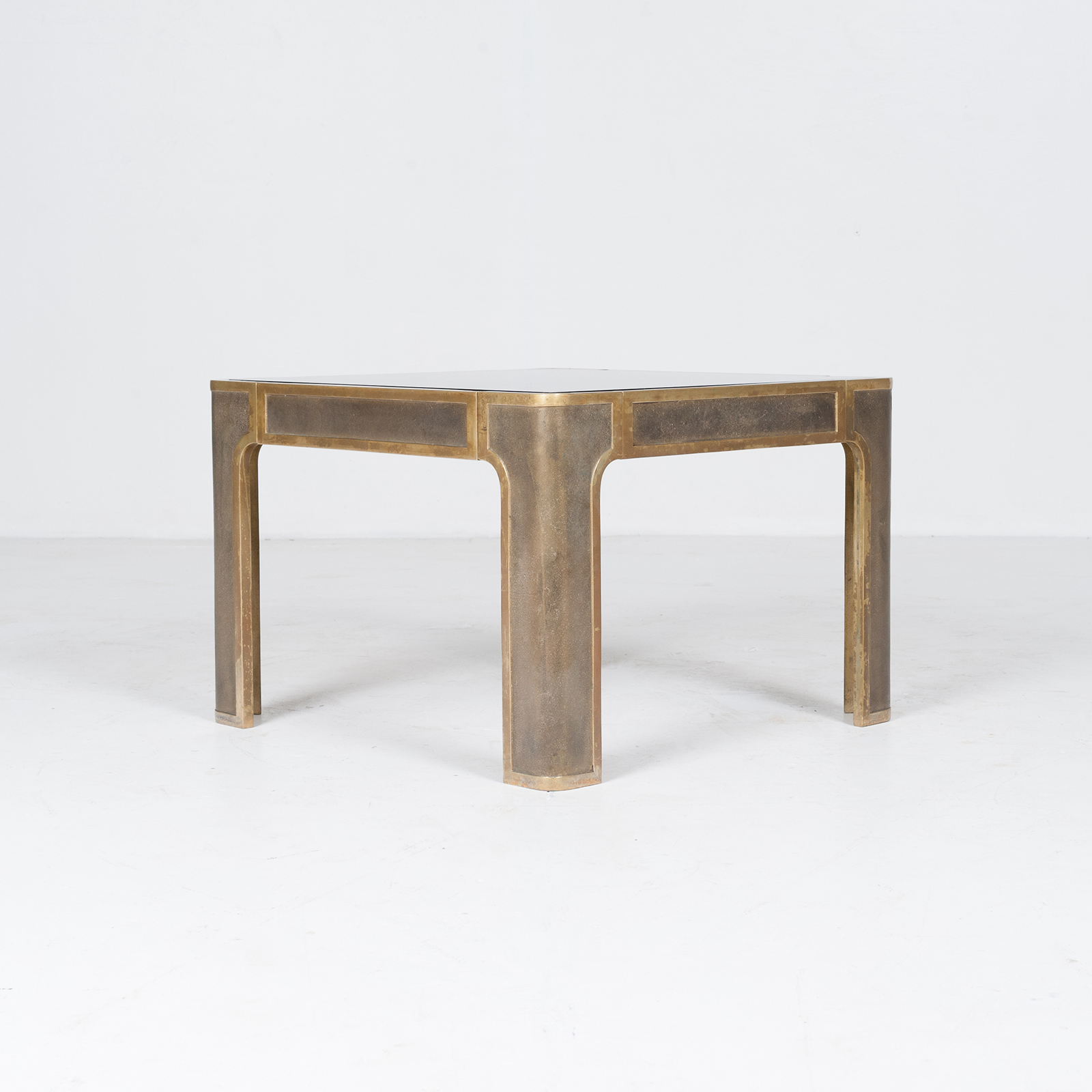 Square Coffee Table By Peter Ghyczy With Smoked Glass Top And Embossed Base, 1970s, The Netherlands896
