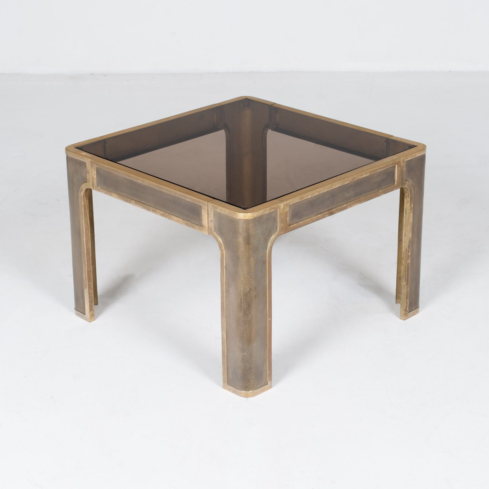 Square Coffee Table By Peter Ghyczy With Smoked Glass Top And Embossed Base, 1970s, The Netherlands897