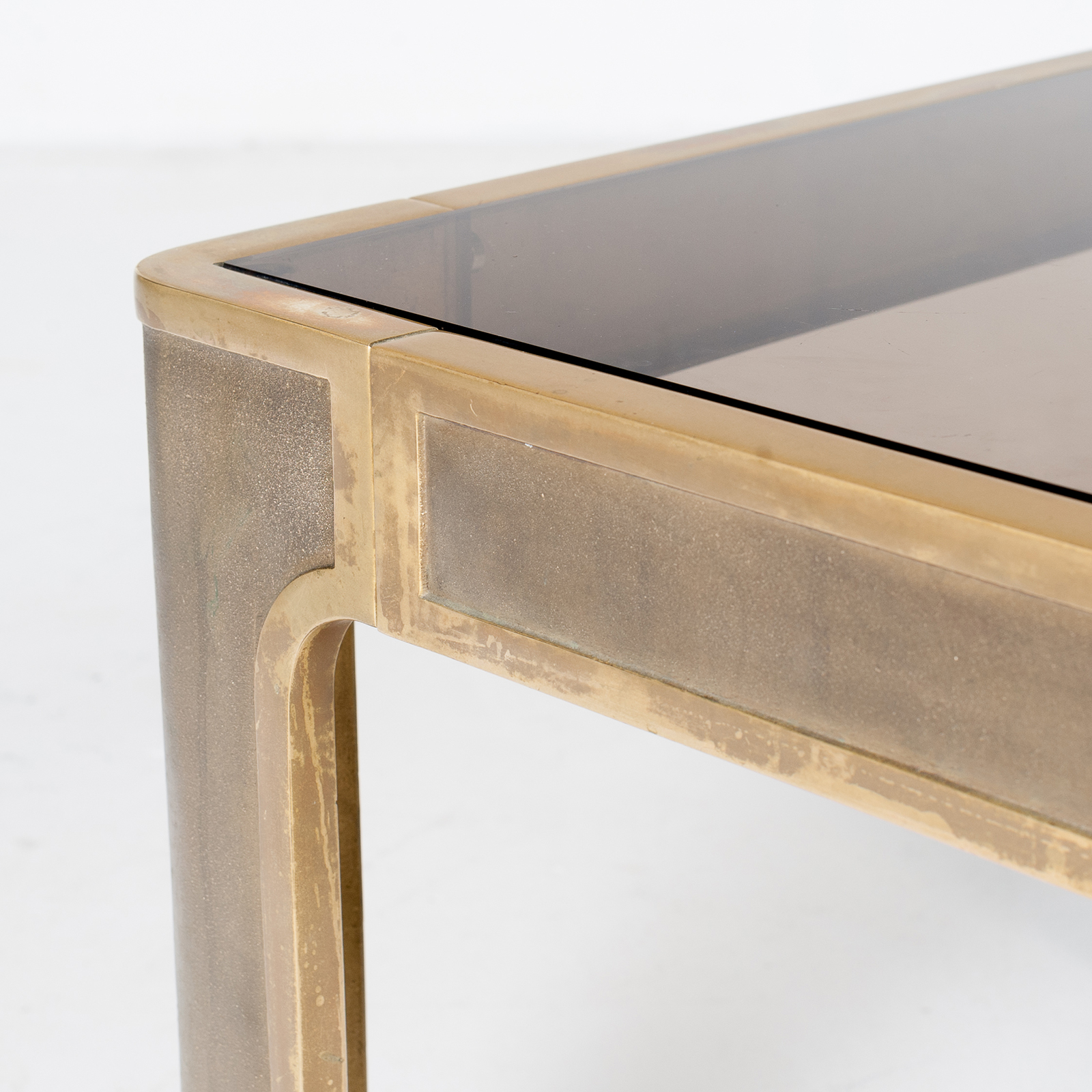 Square Coffee Table By Peter Ghyczy With Smoked Glass Top And Embossed Base, 1970s, The Netherlands900