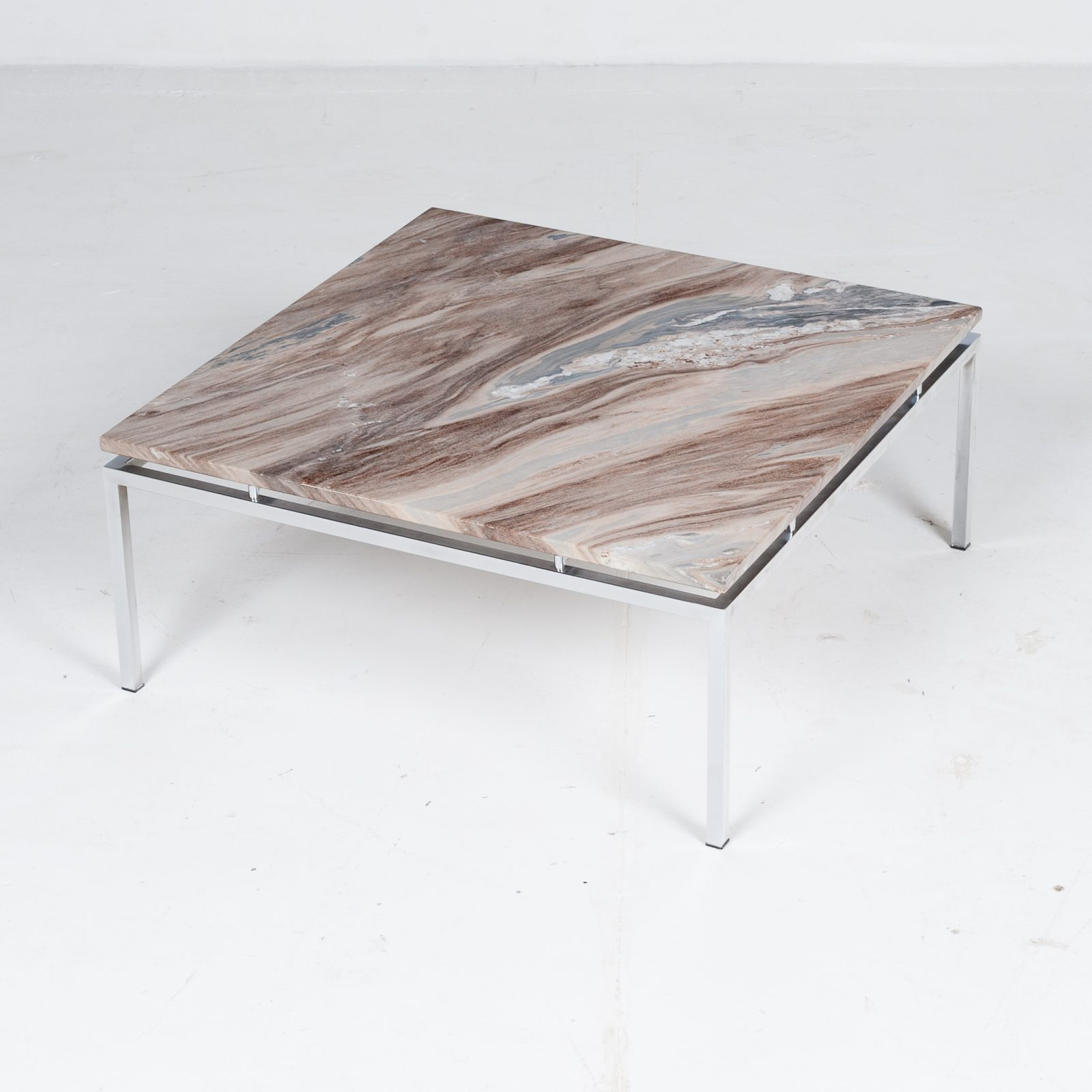 Square Coffee Table In Marble And Chrome 1970s The Netherlands Modern Times