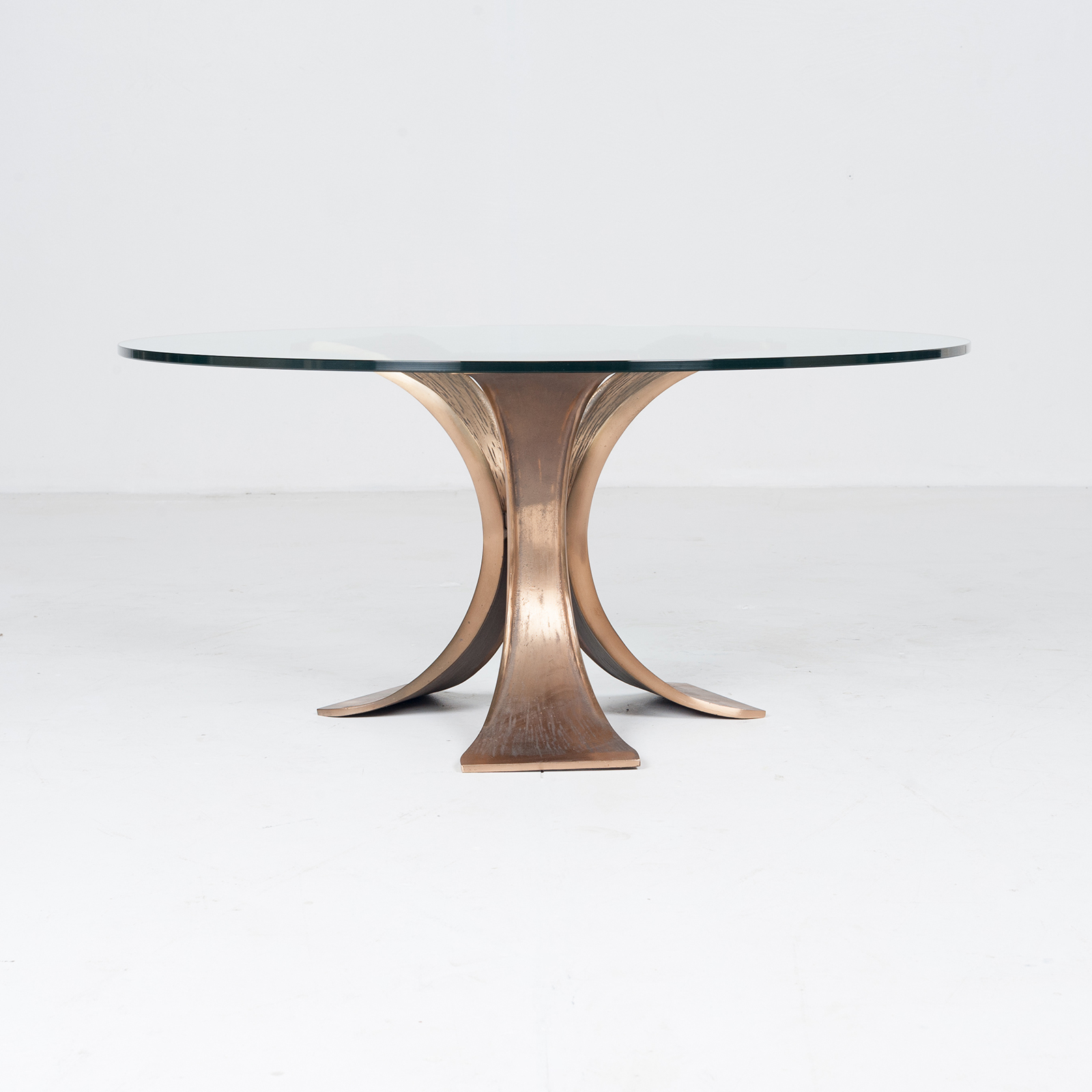 Brutalist Coffee Table In Bronze And Glass, 1970s, Belgium1