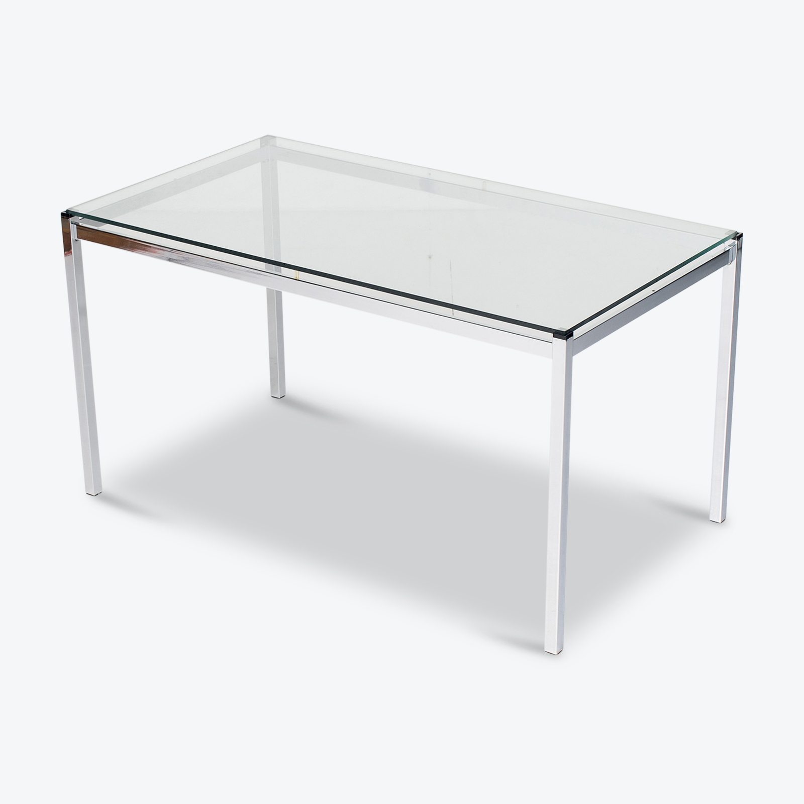 Dining Table In Glass And Chrome, 1970s, The Netherlands Hero