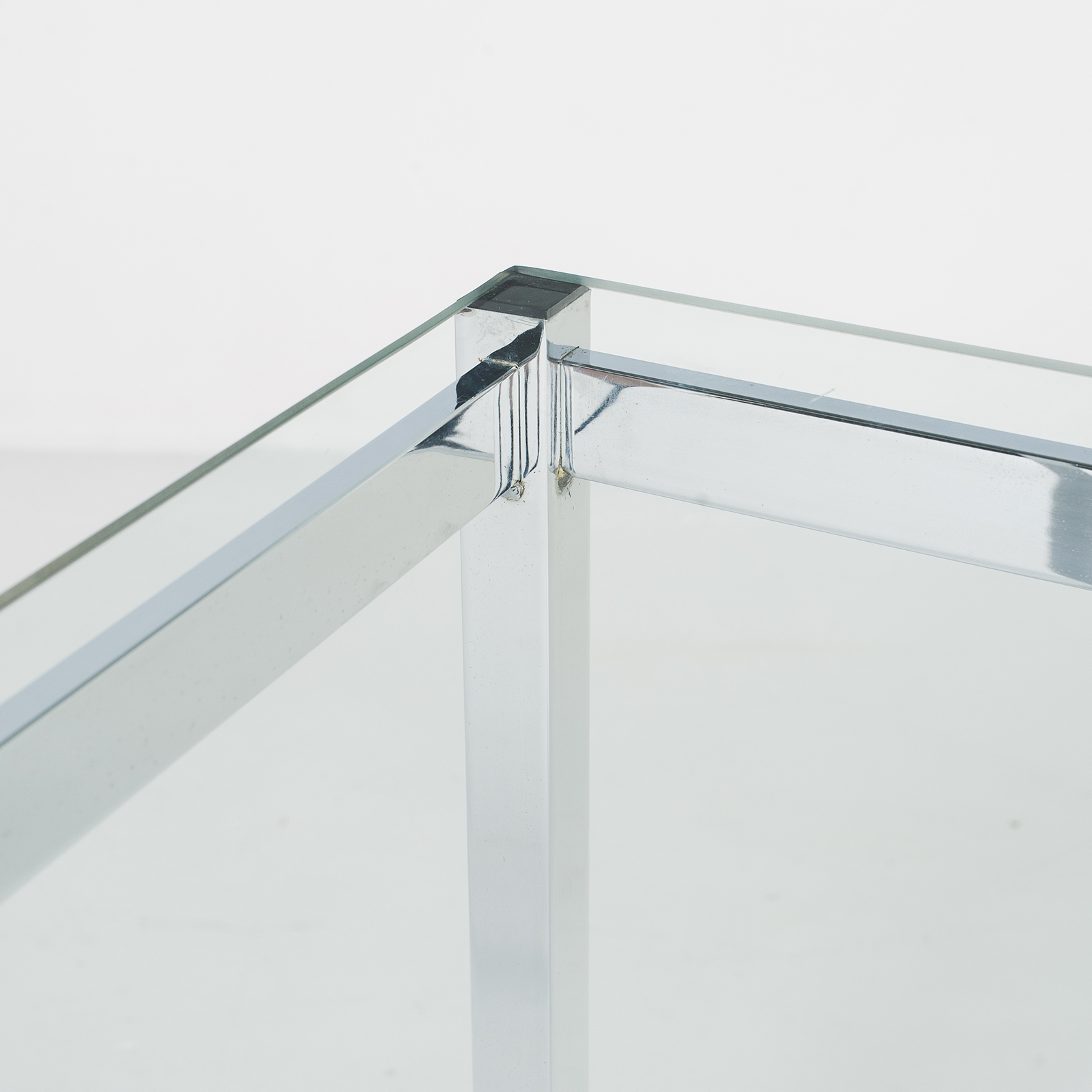 Dining Table In Glass And Chrome, 1970s, The Netherlands795
